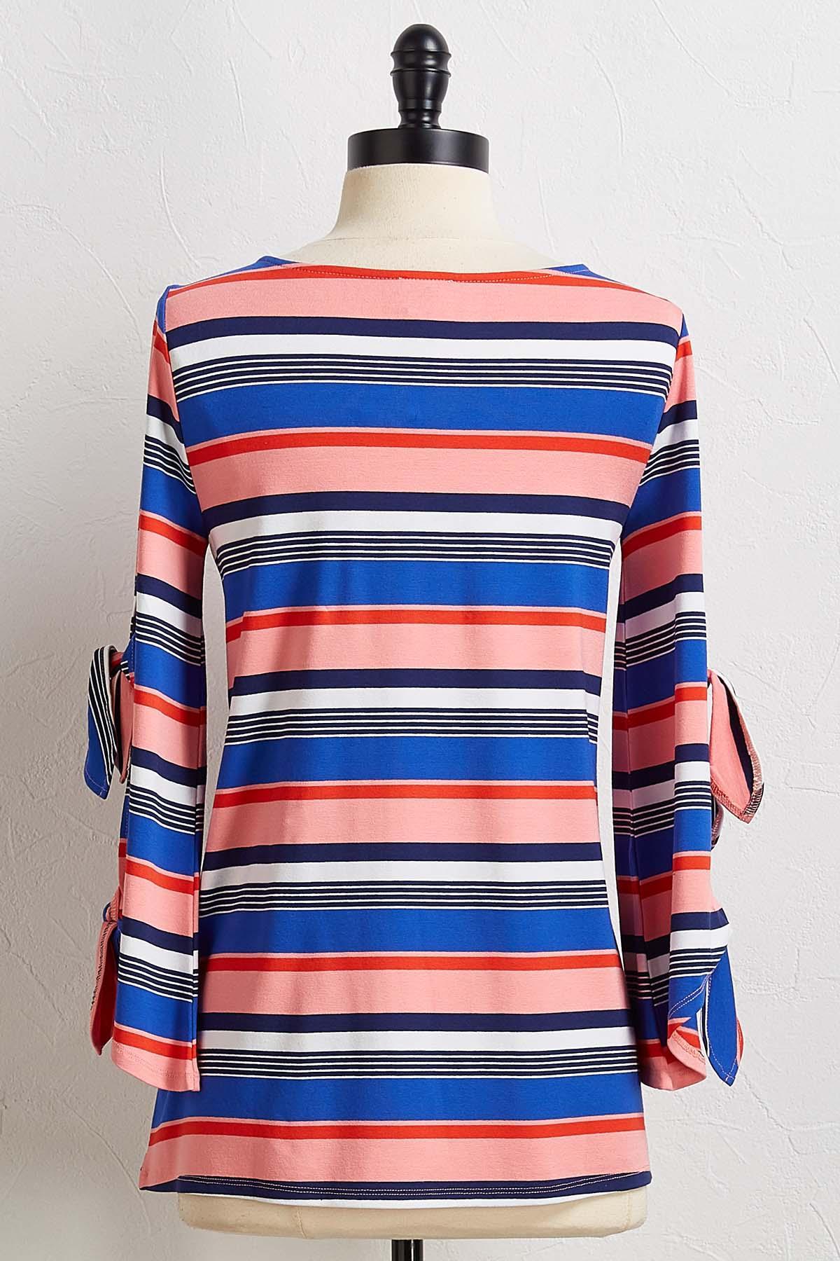 Stripe Tie Sleeve Top