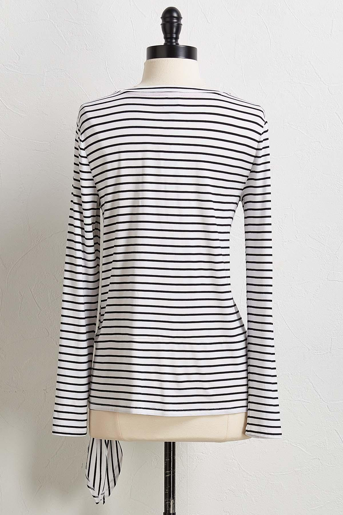 Stripe Knotted Waist Top