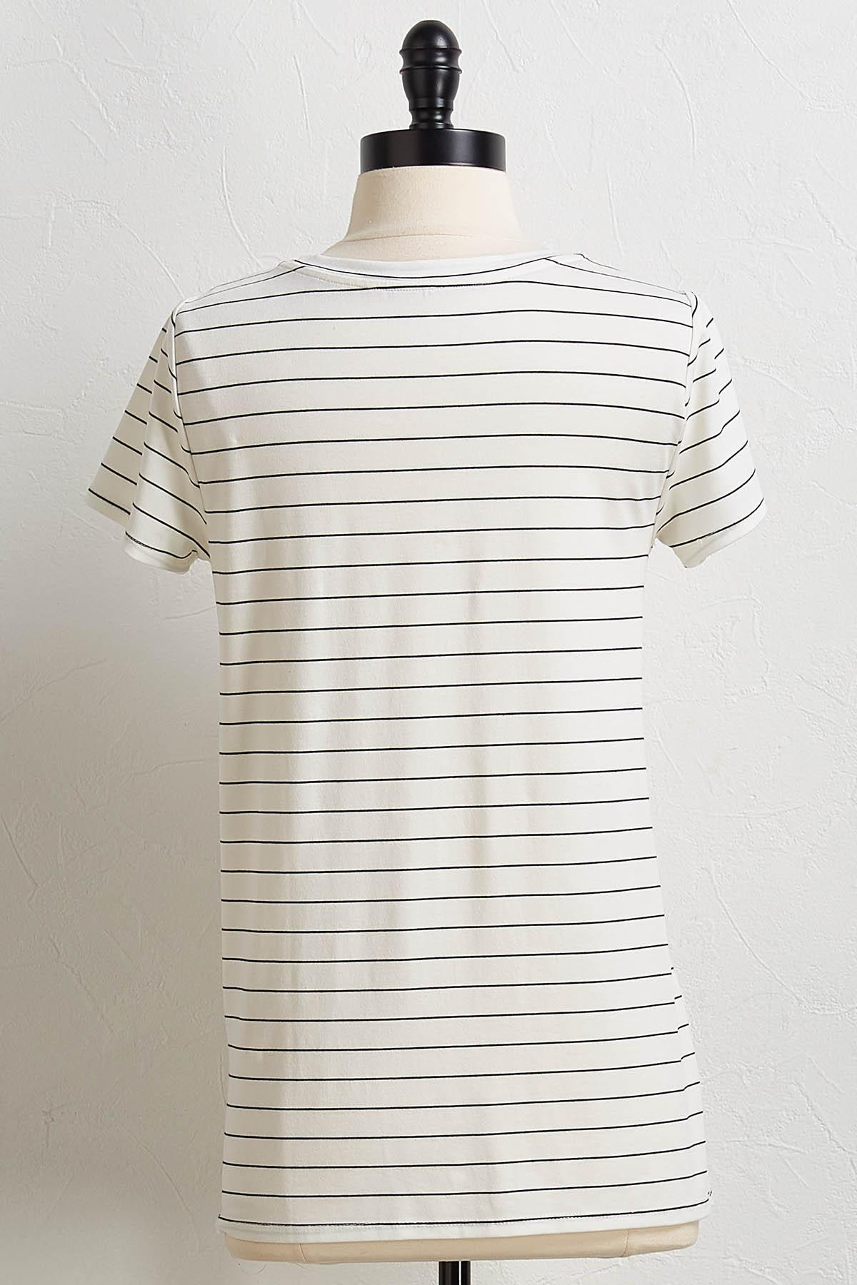 Stripe Knot Front Tee