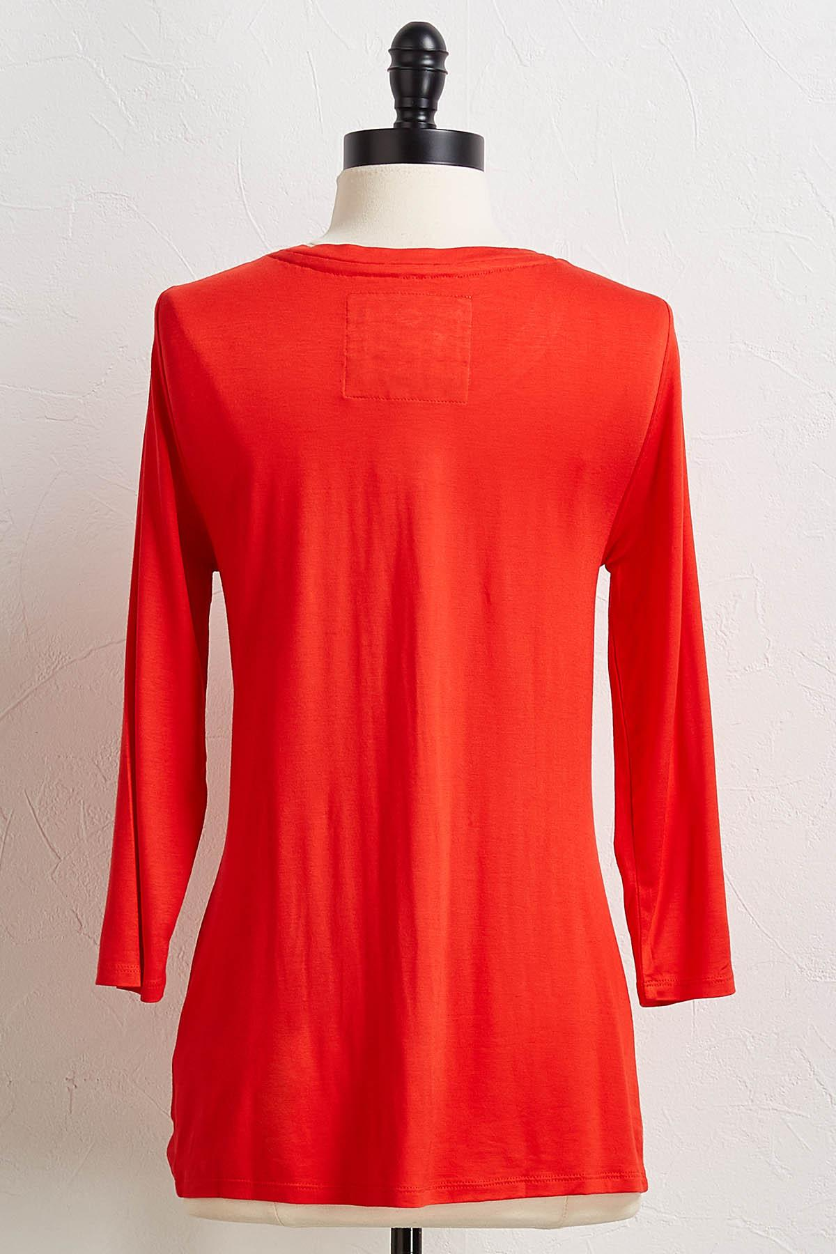 Red Twisted Hem Top