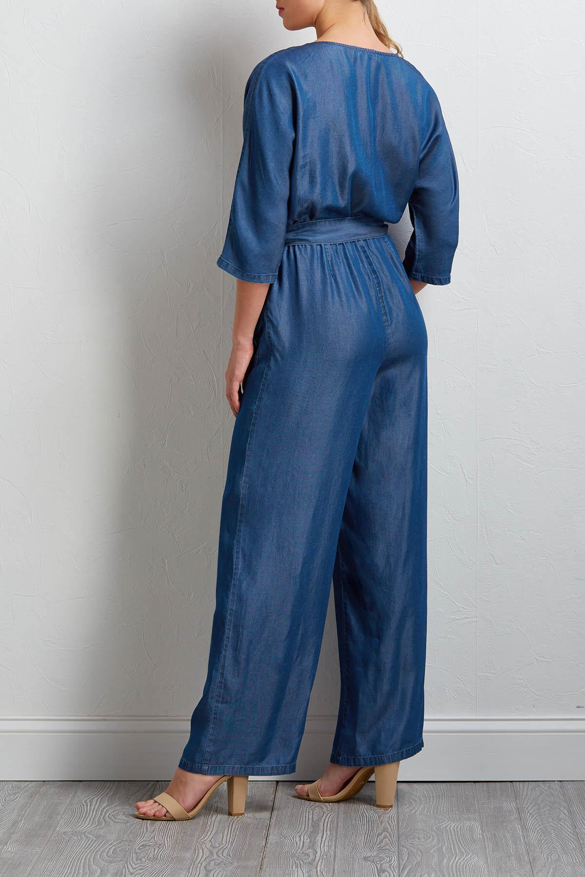 Chambray Tie Front Jumpsuit