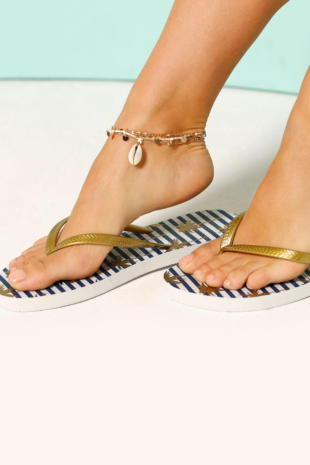 Striped Palm Tree Flip- Flops