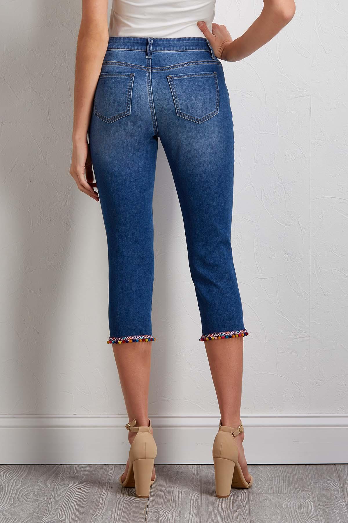 Cropped Pom- Pom Jeans