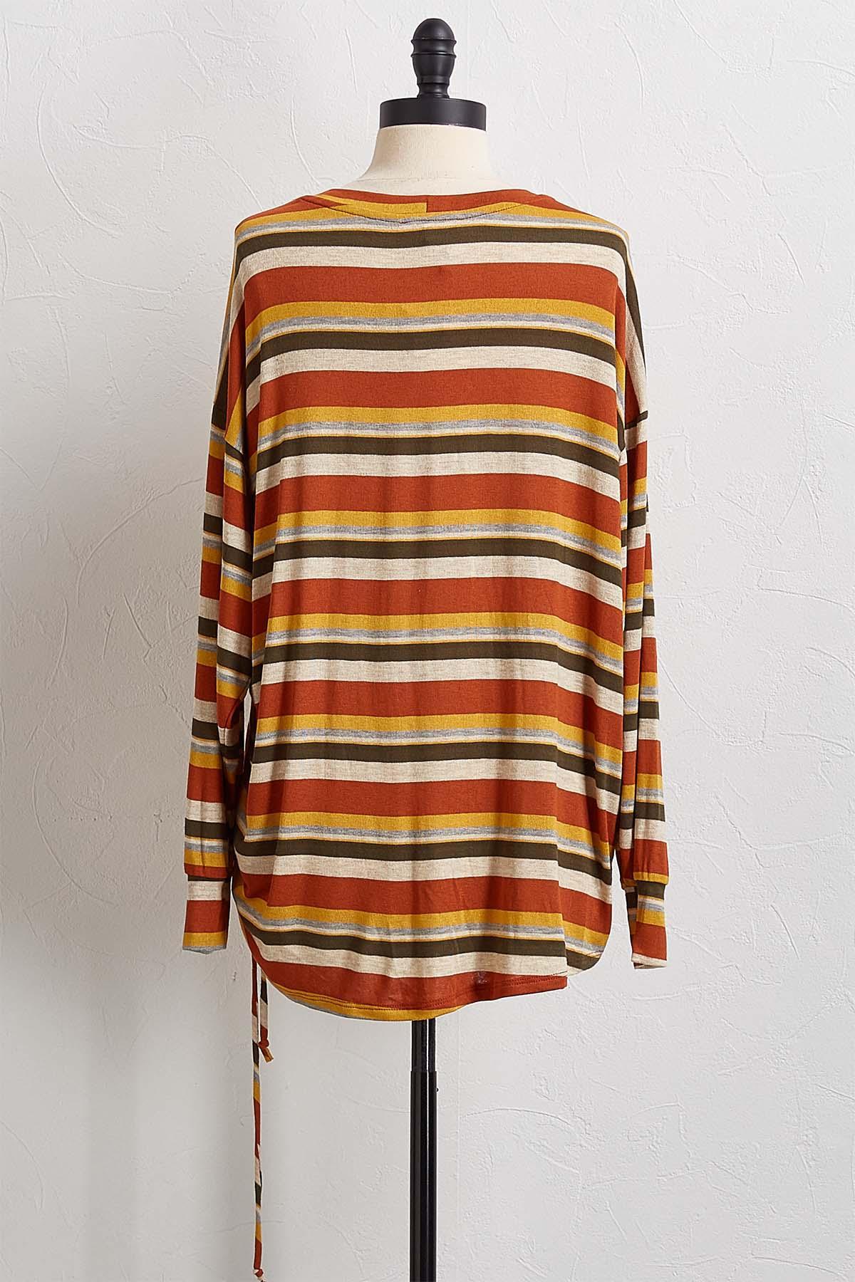 Cinched Rust Stripe Top