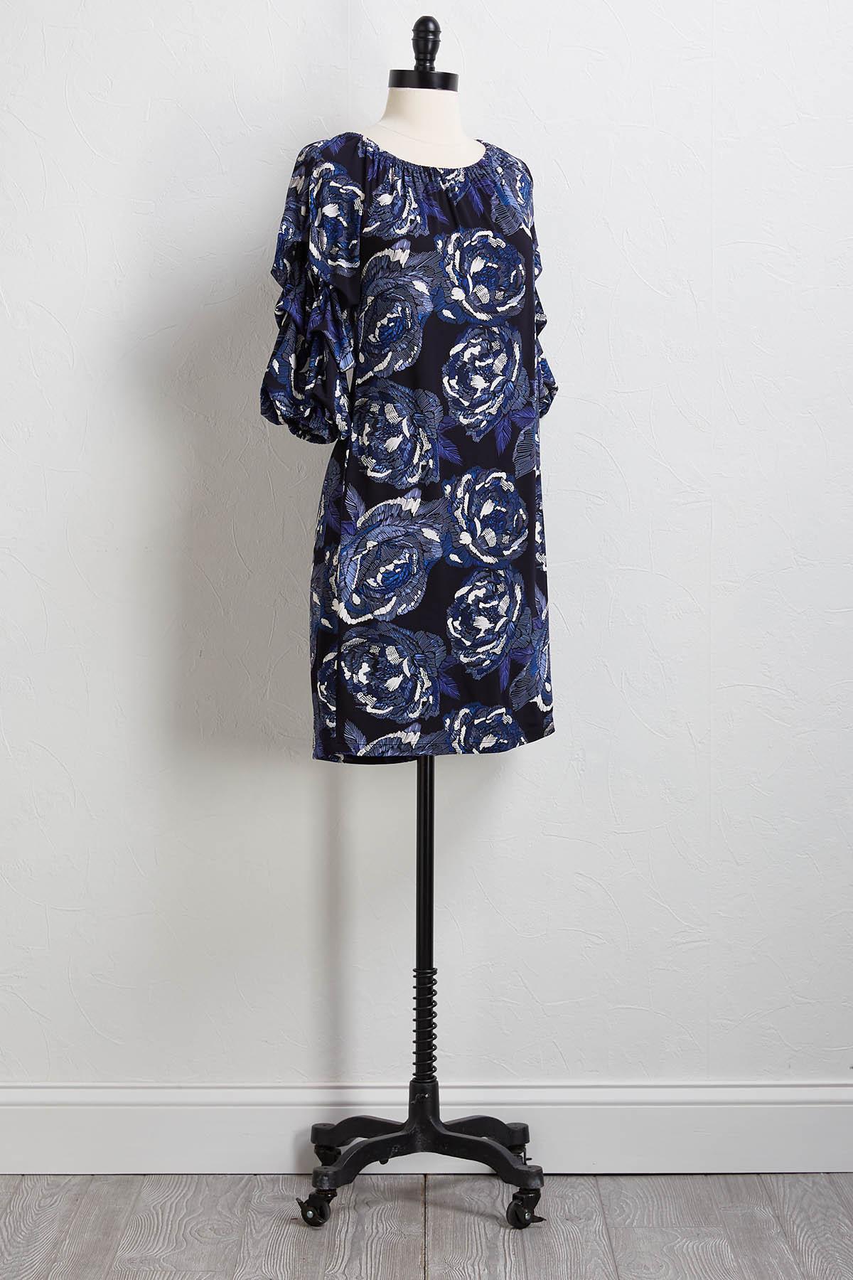 Navy Puff Floral Dress