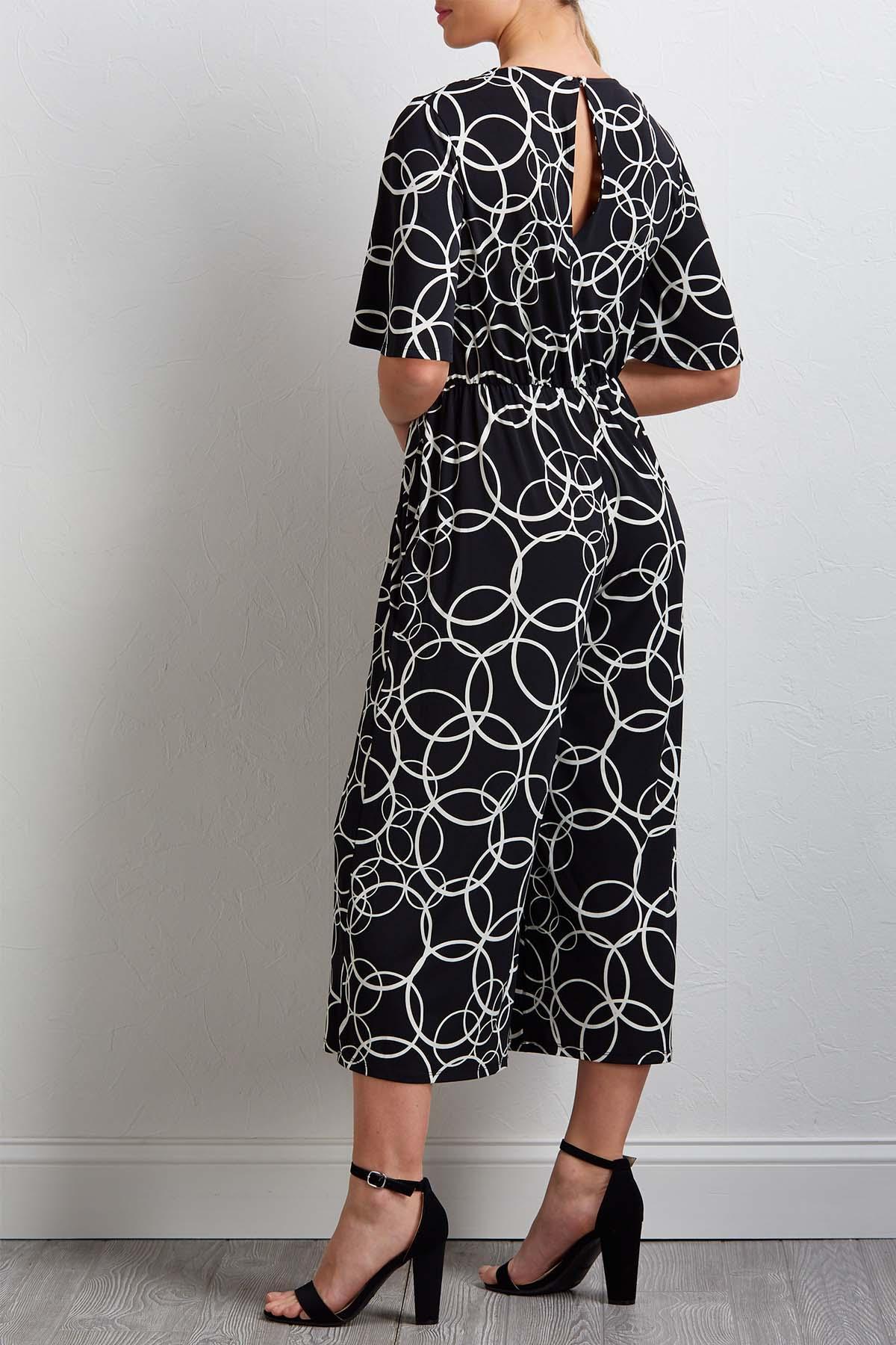 Tie Circle Print Jumpsuit