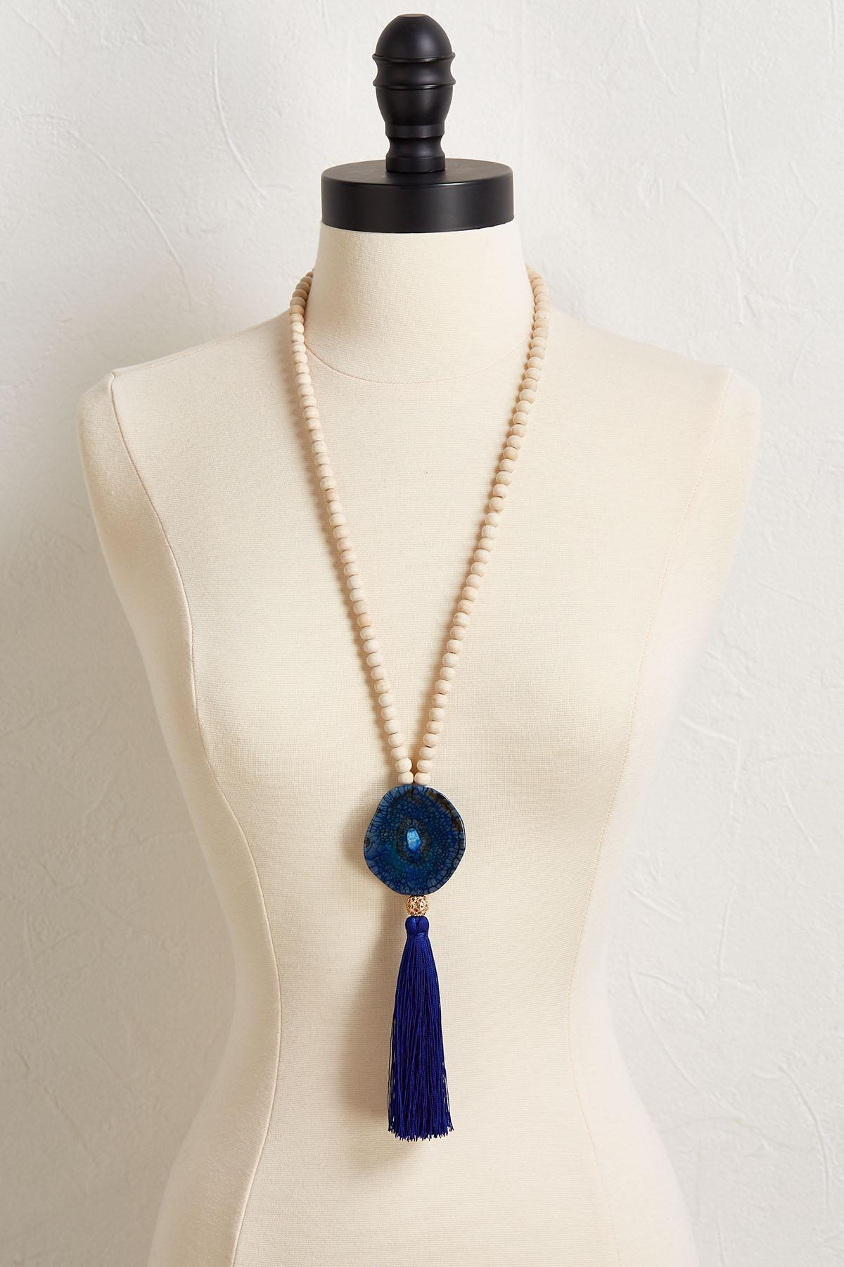 Semi- Precious Tassel Beaded Necklace
