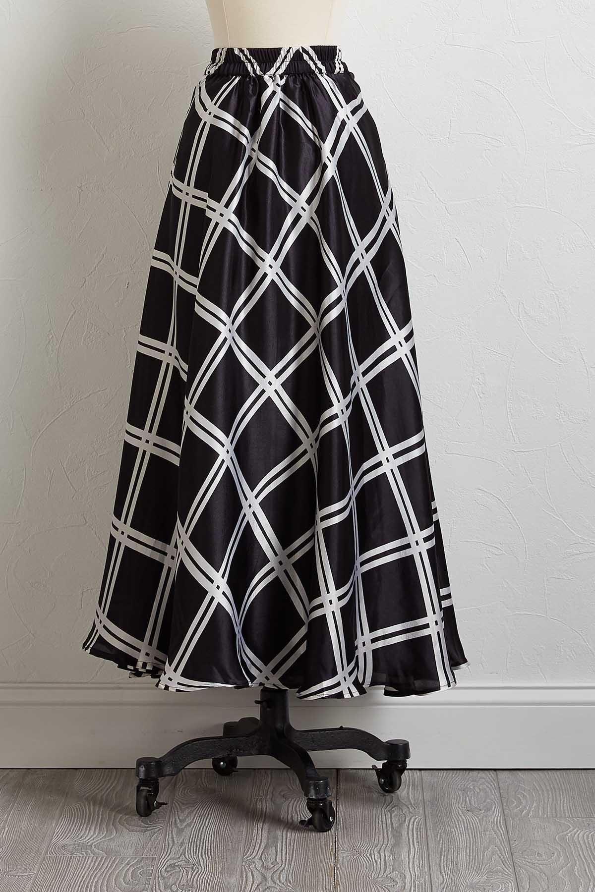 Satiny Geo Tie Waist Skirt
