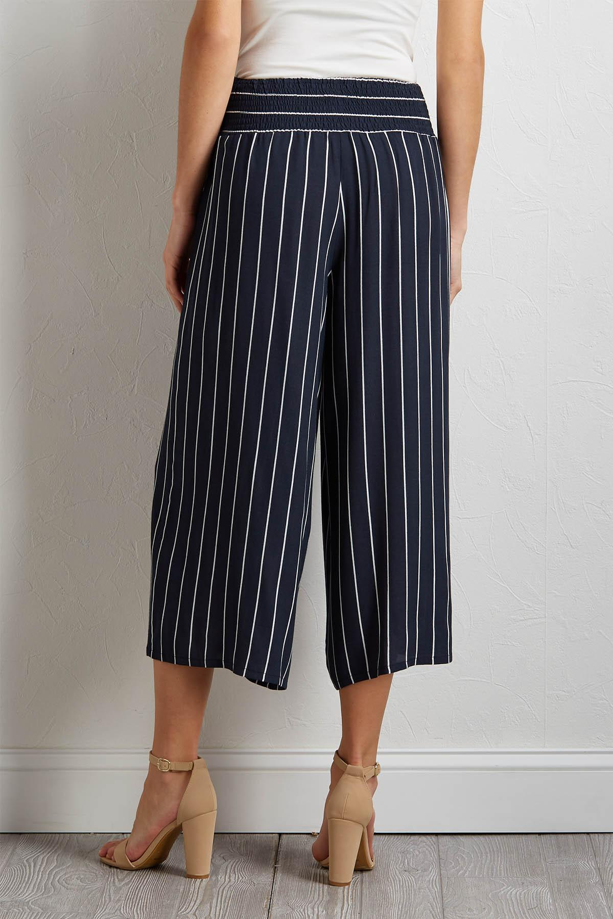 Cropped Smocked Waist Pants