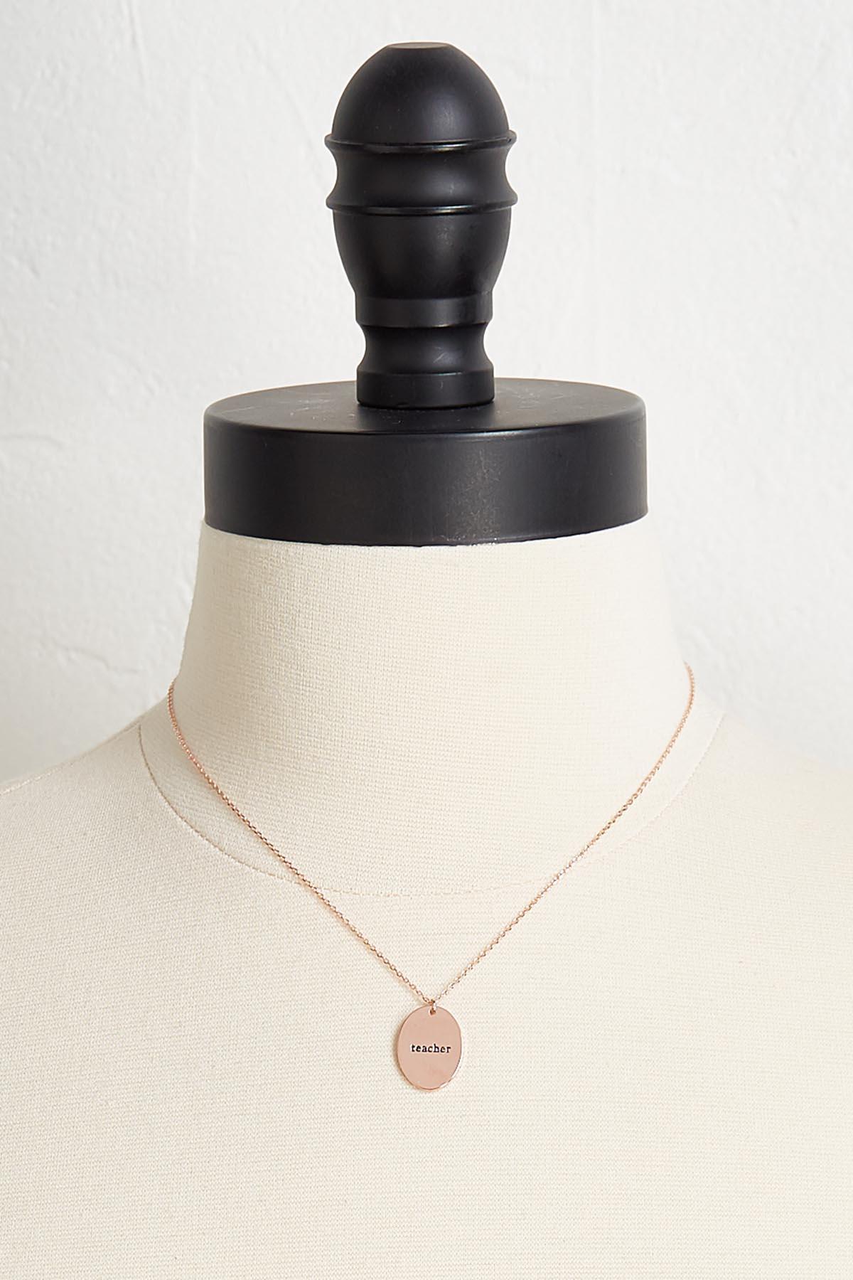 Engraved Teacher Pendant Necklace
