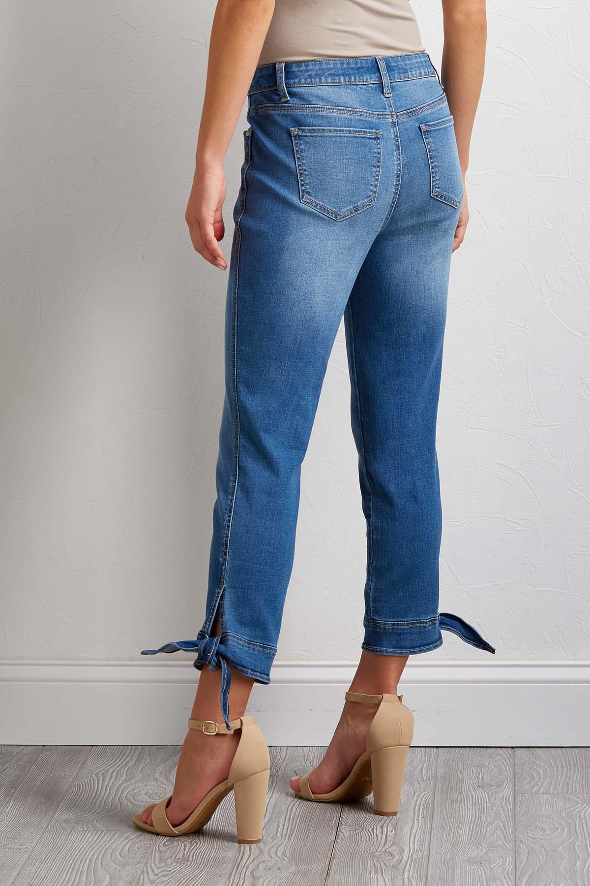 Cropped Tie Hem Jeans