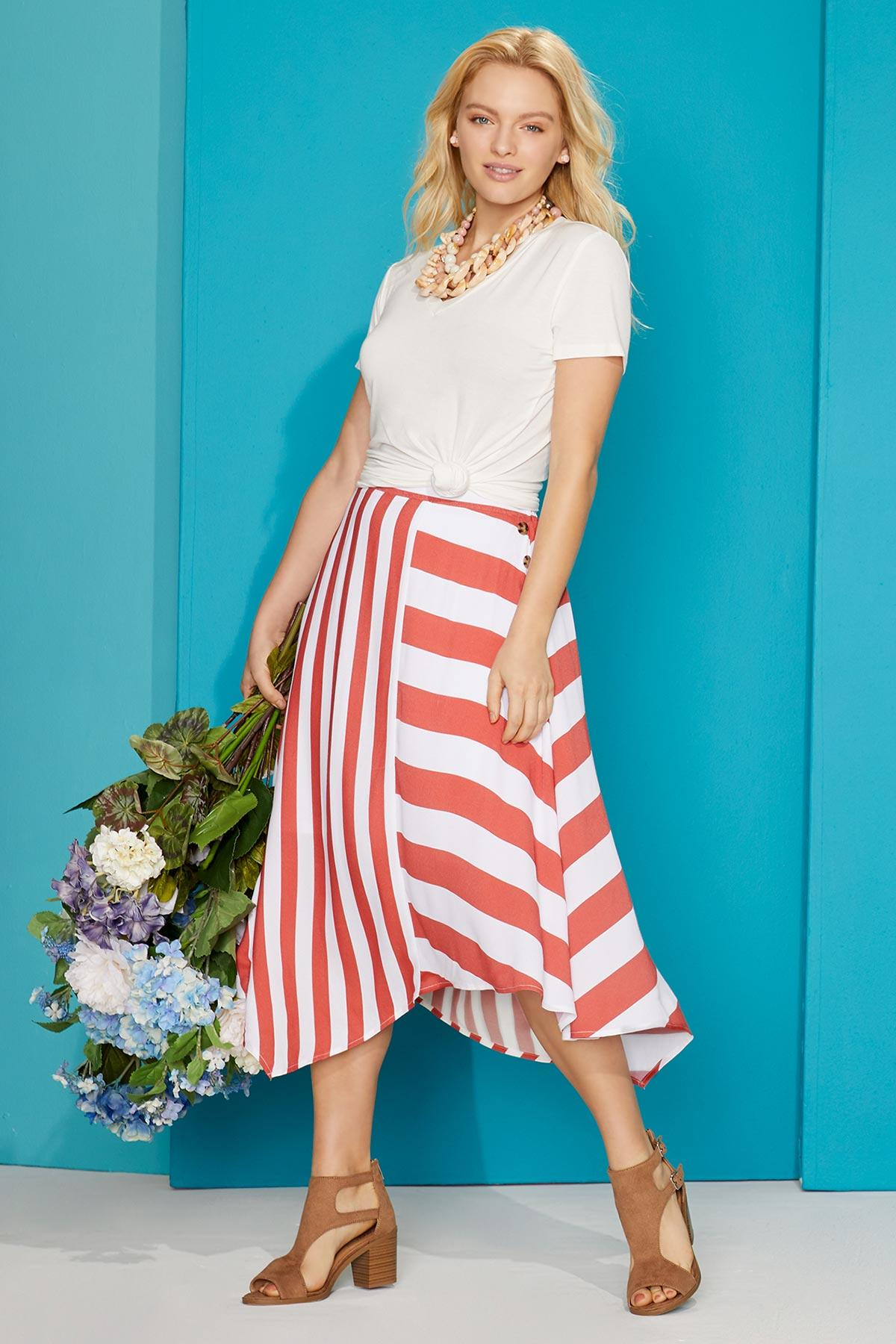 Orange Mixed Stripe Skirt