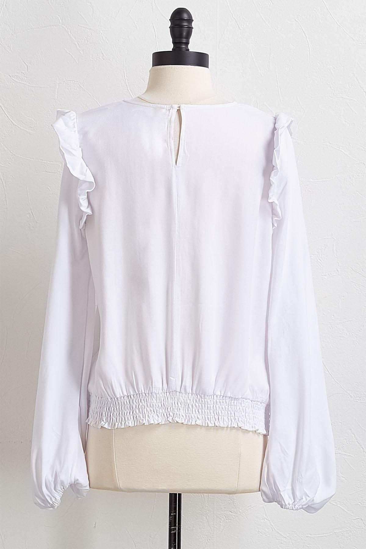 Ruched And Ruffled Sleeve Top