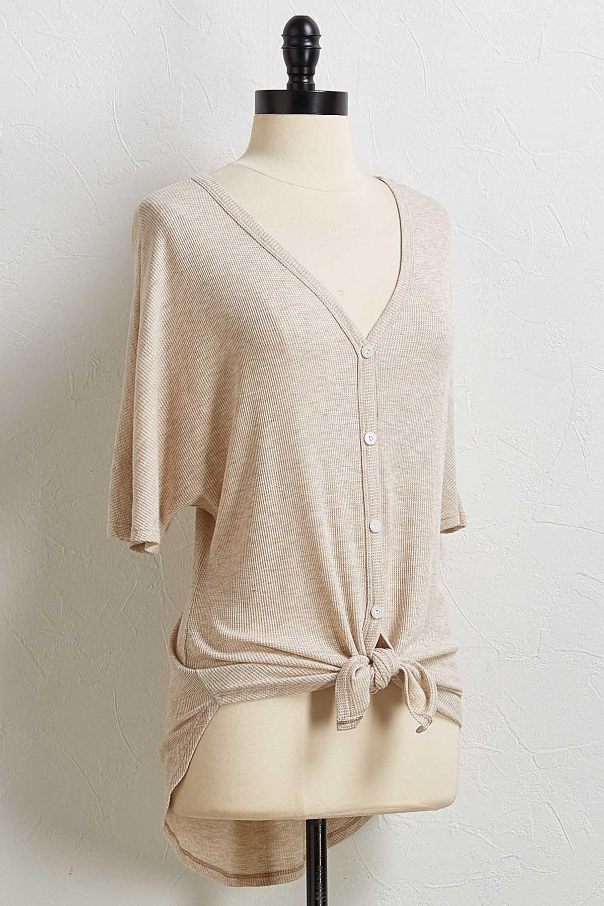 Thermal Button Pullover Top