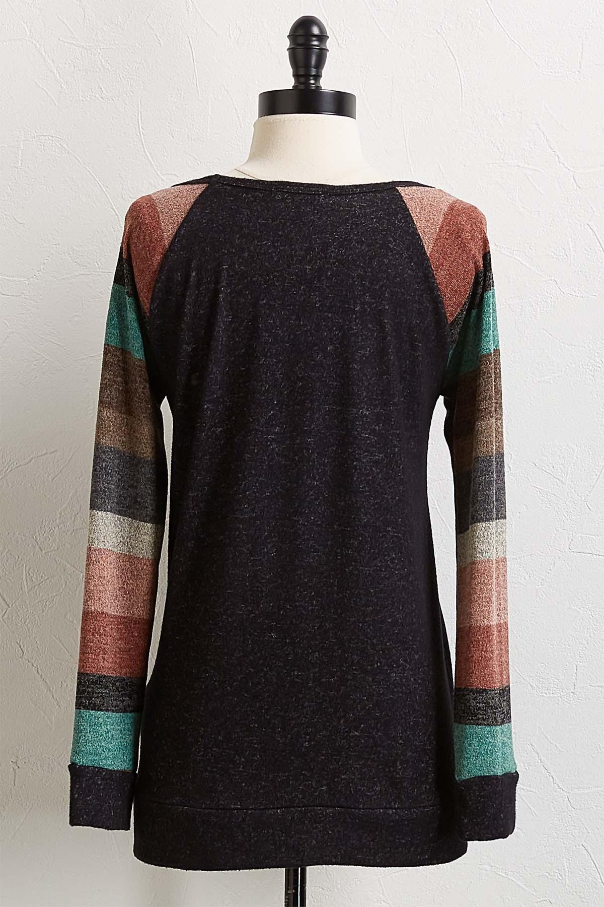 Striped Sleeve Hacci Top