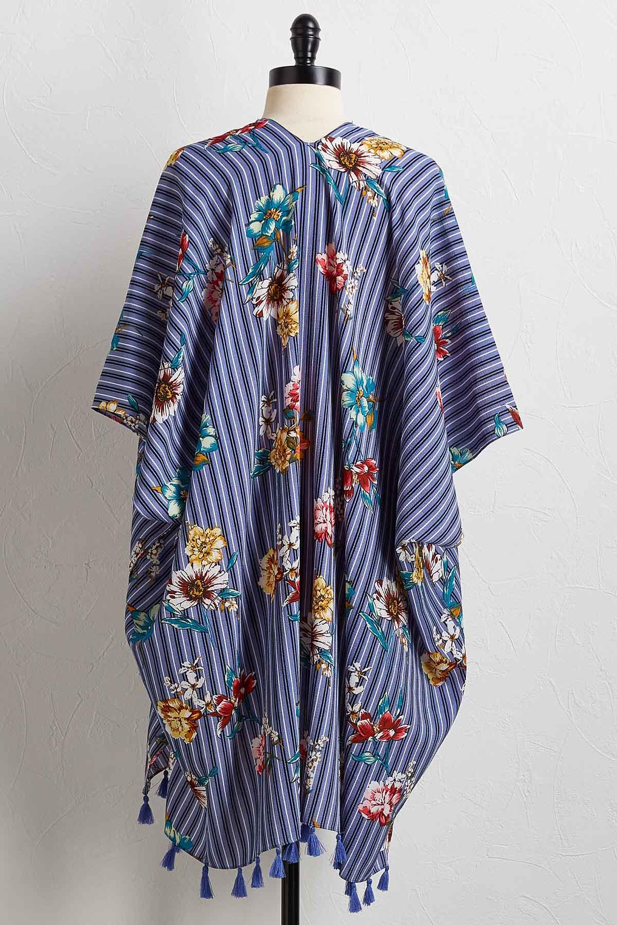 Stripe Floral Cover- Up