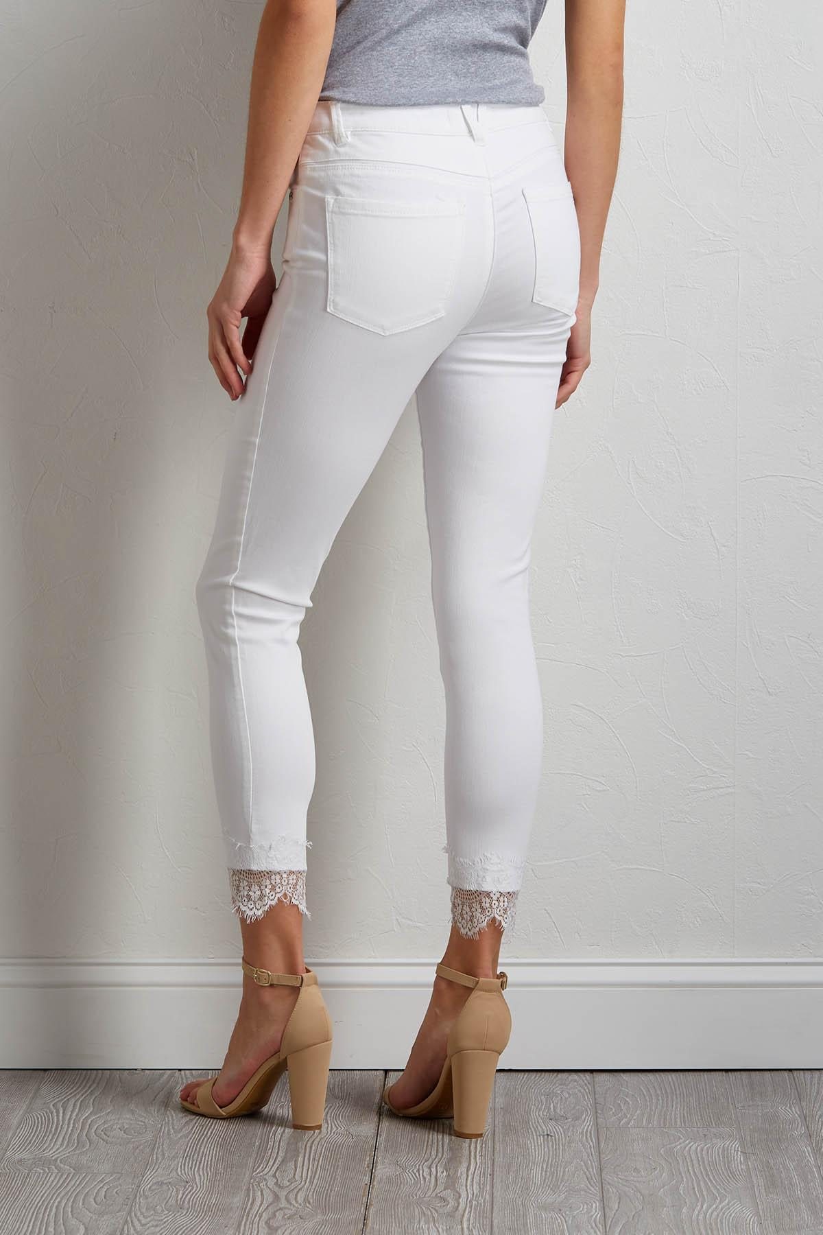 White Lace Trim Jeans