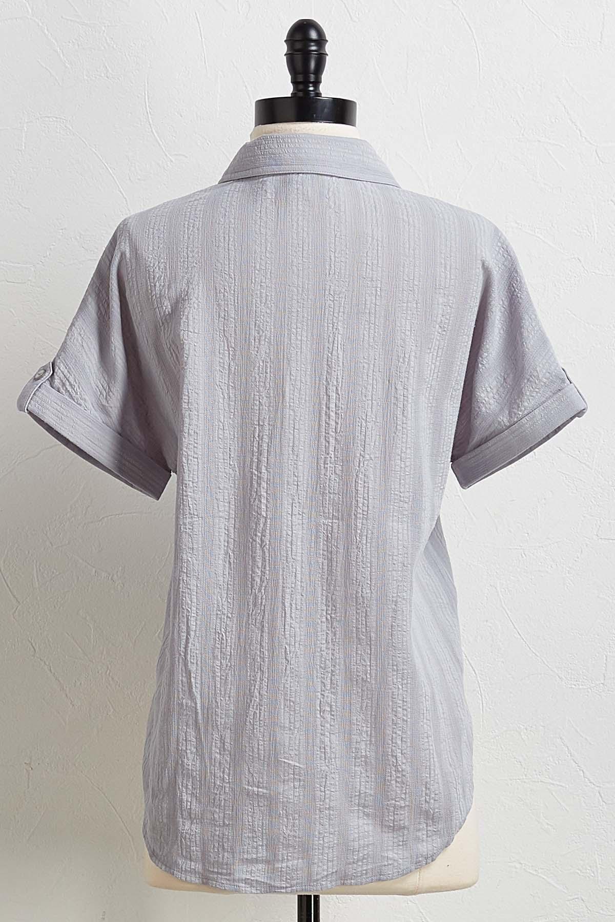 Textured Tie Front Top