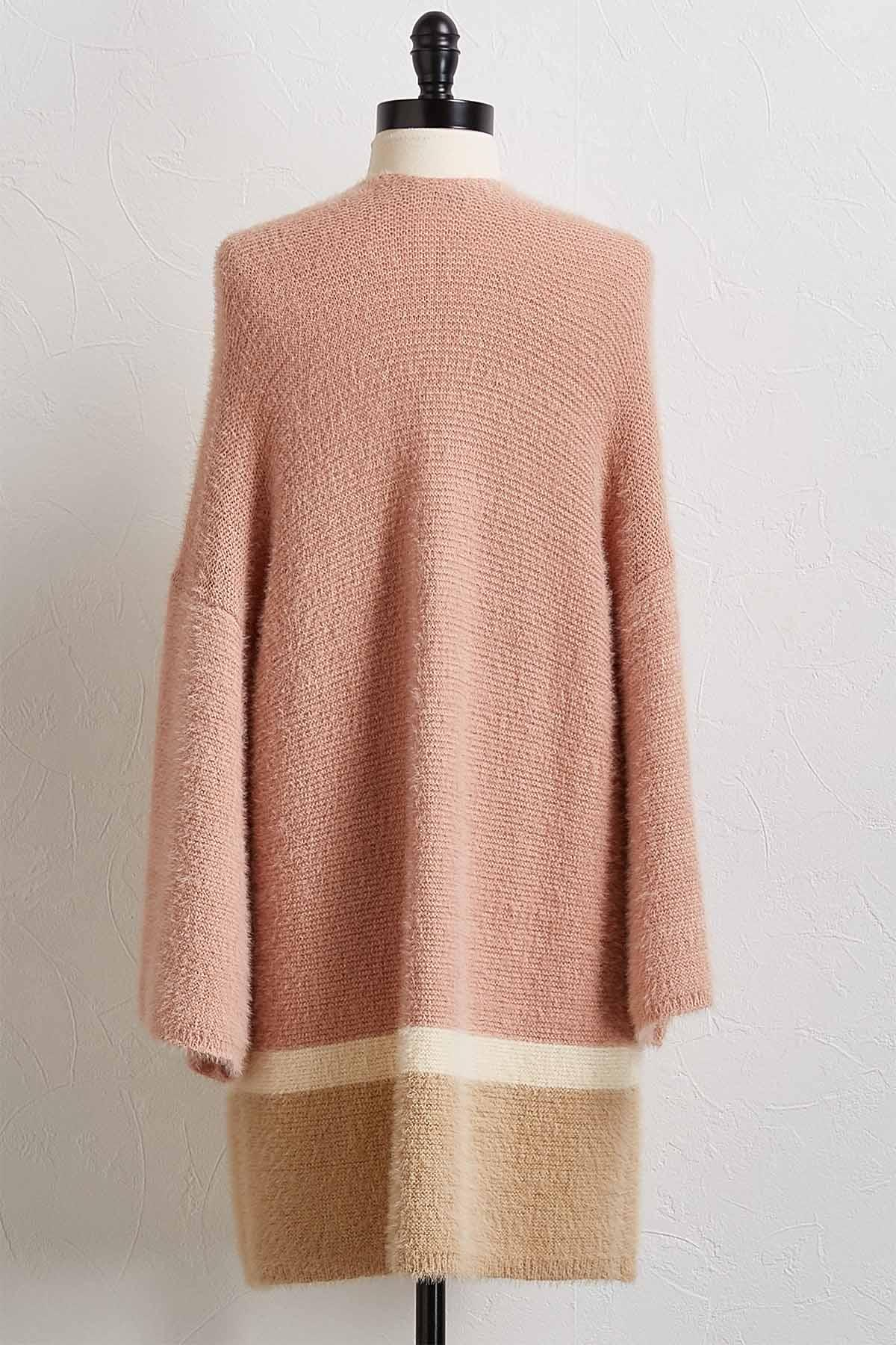 Eyelash Block Cardigan Sweater