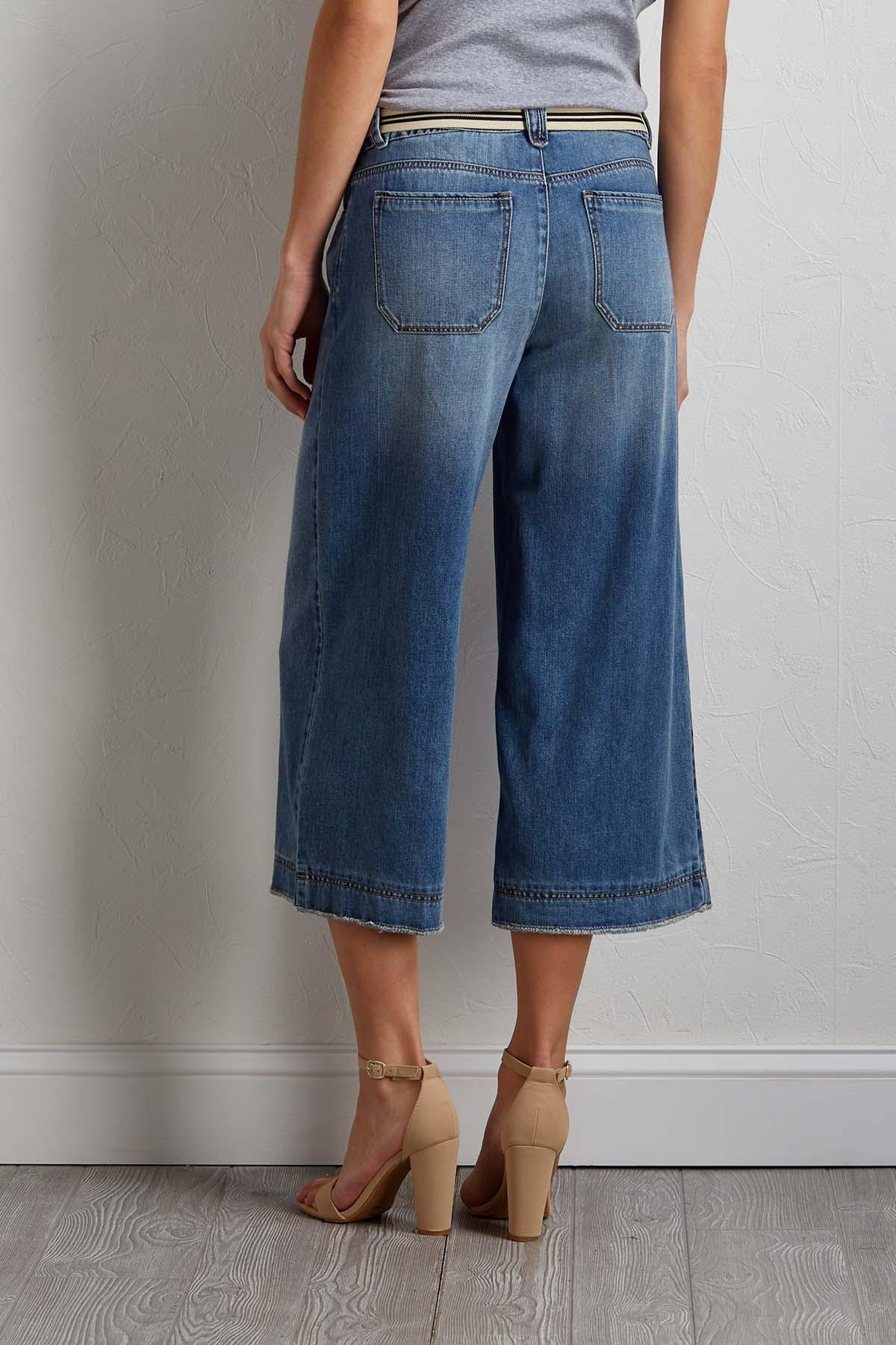 Cropped Belted Jeans