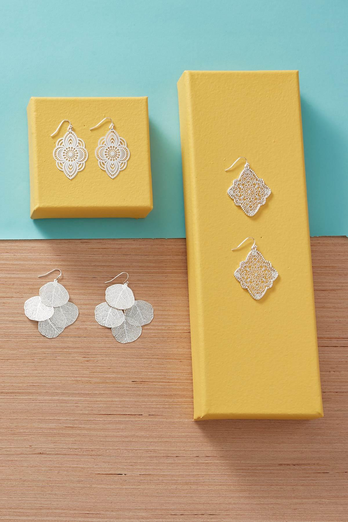 Tiered Filigree Leaf Earrings