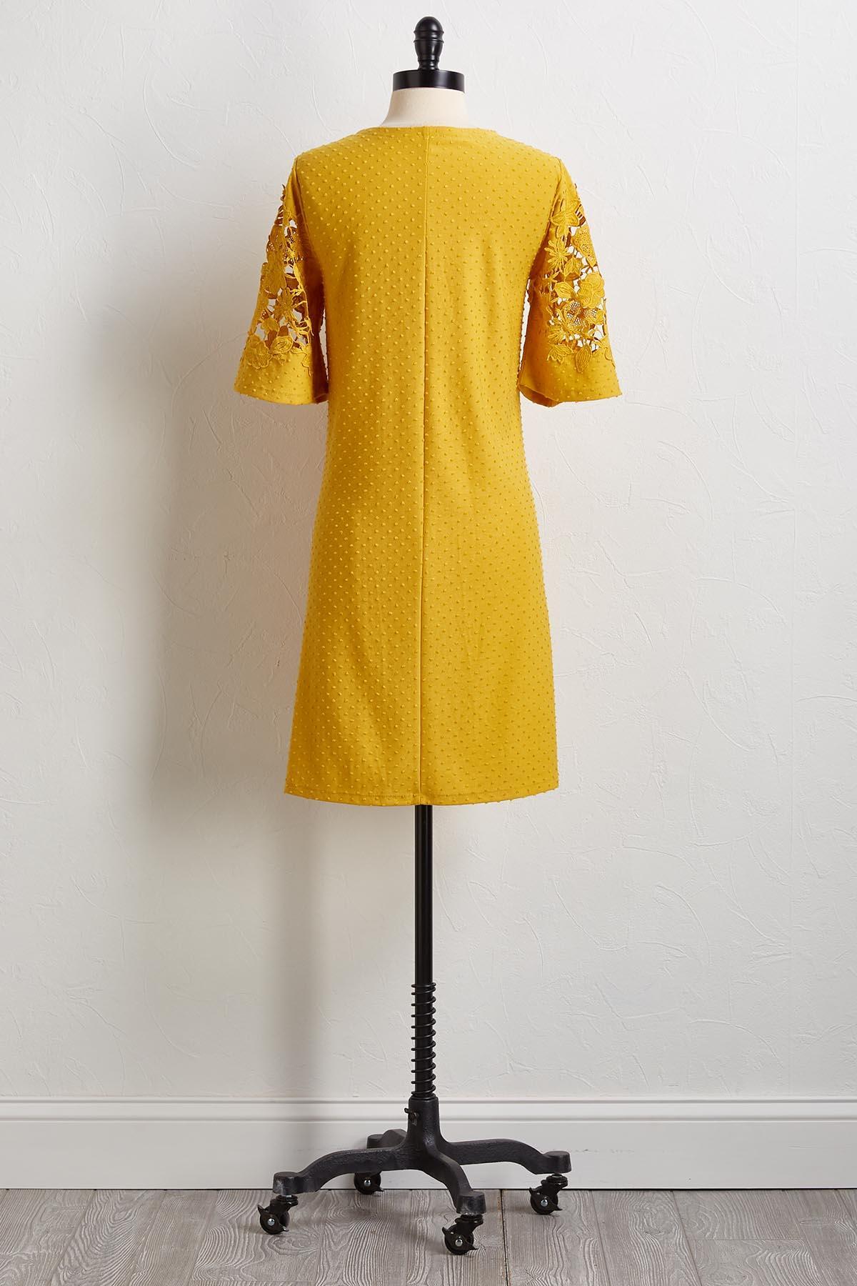 Dotted Crochet Sleeve Shift Dress