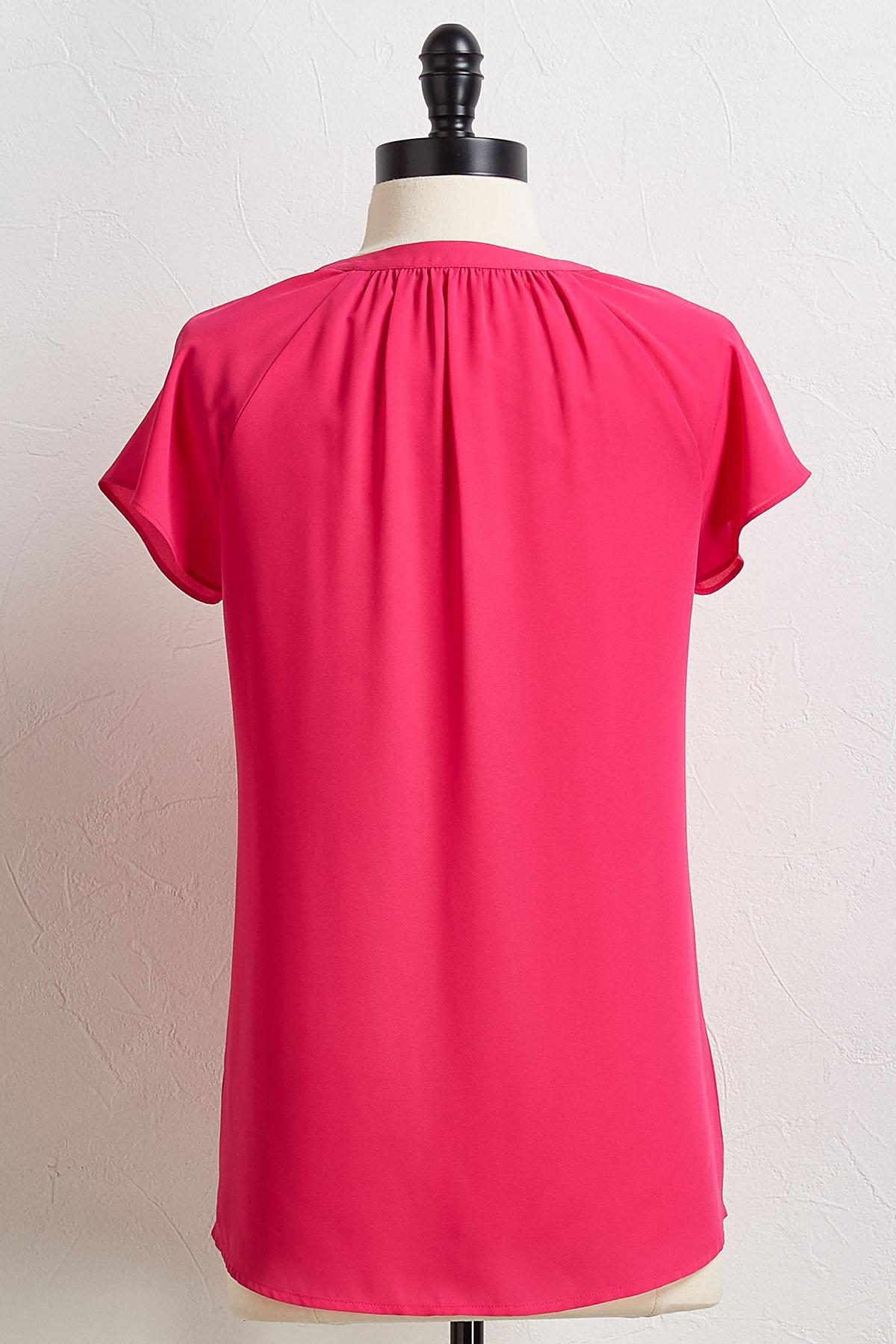 Solid Pleated V- Neck Top