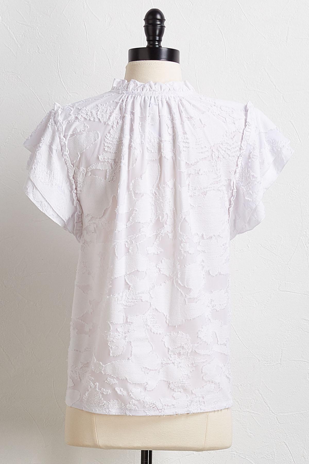 Textured Flutter Sleeve Top