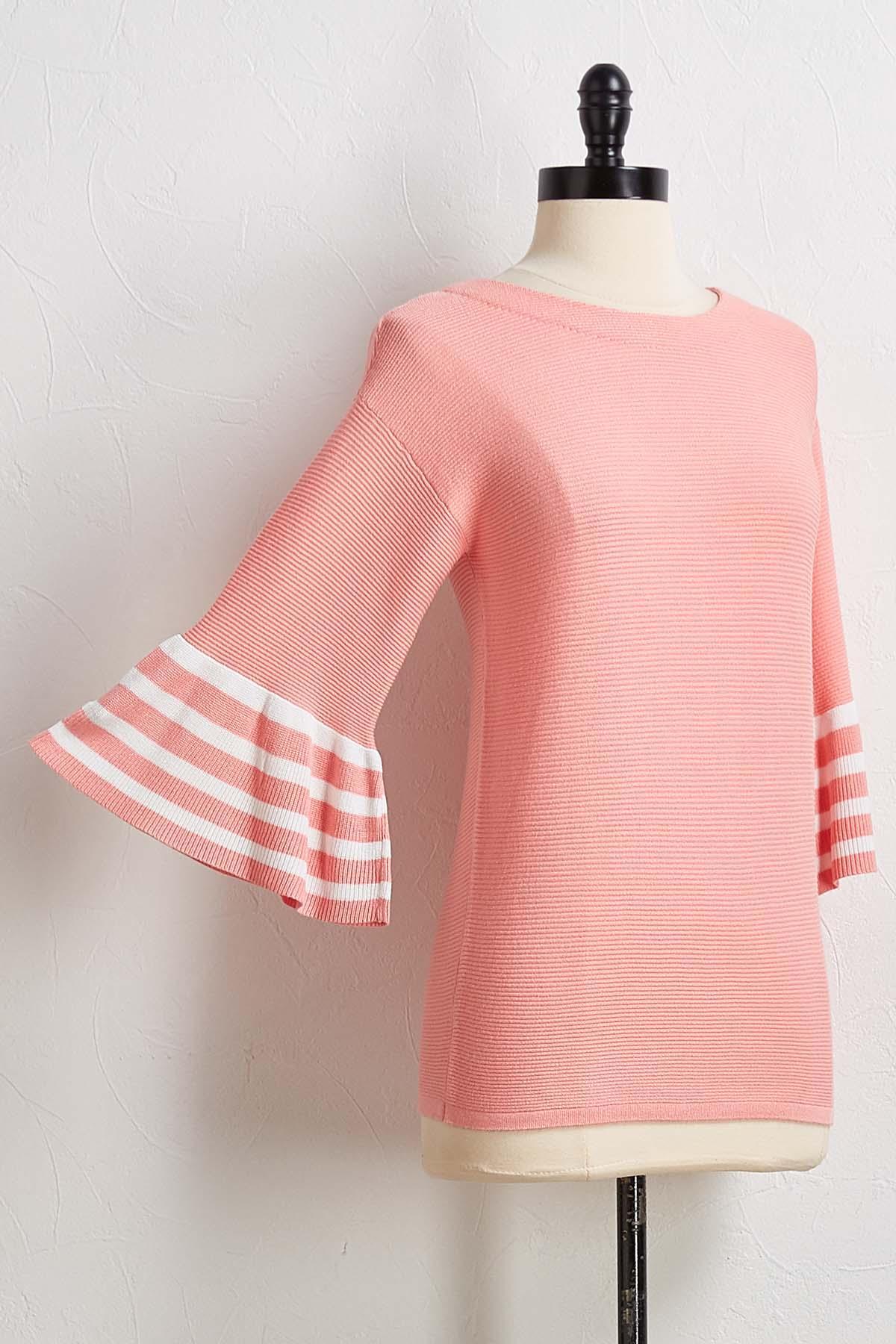 Striped Flair Sleeve Sweater