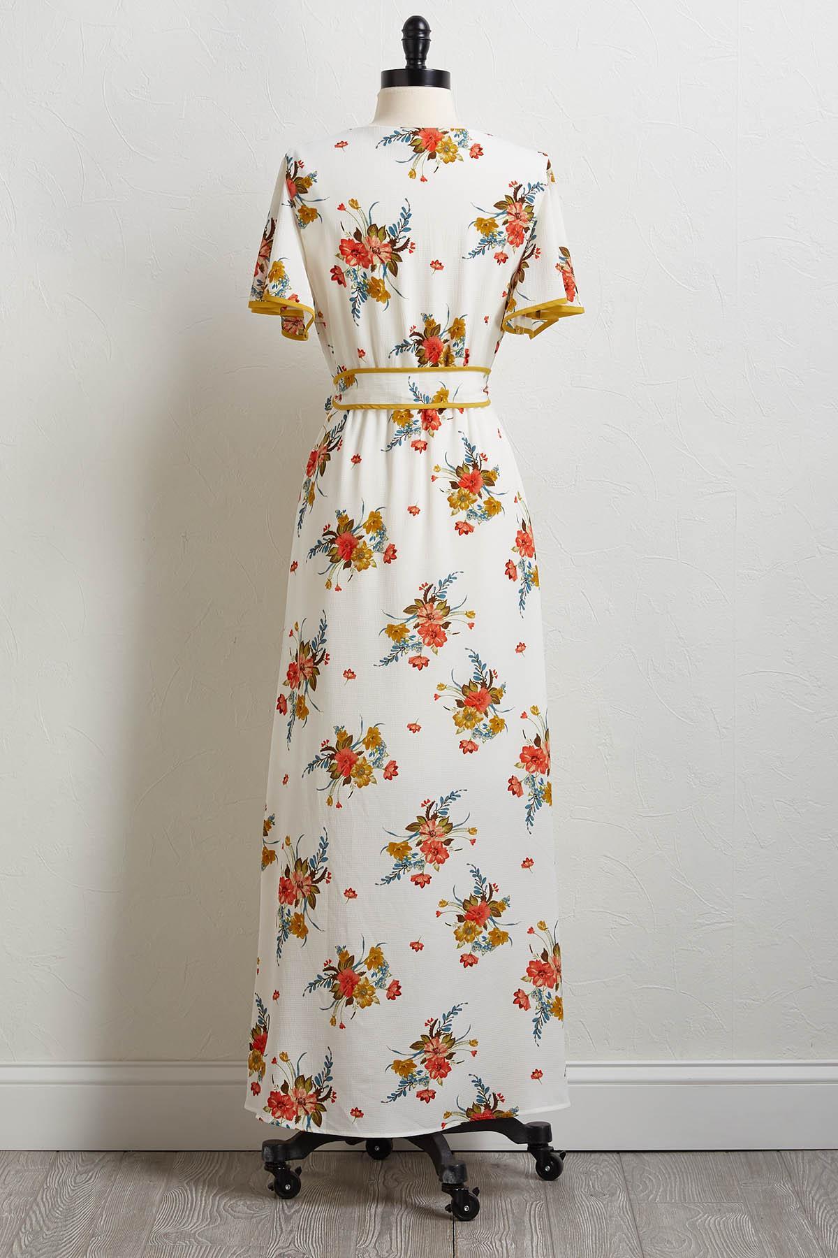 Floral Tie Waist Maxi Dress