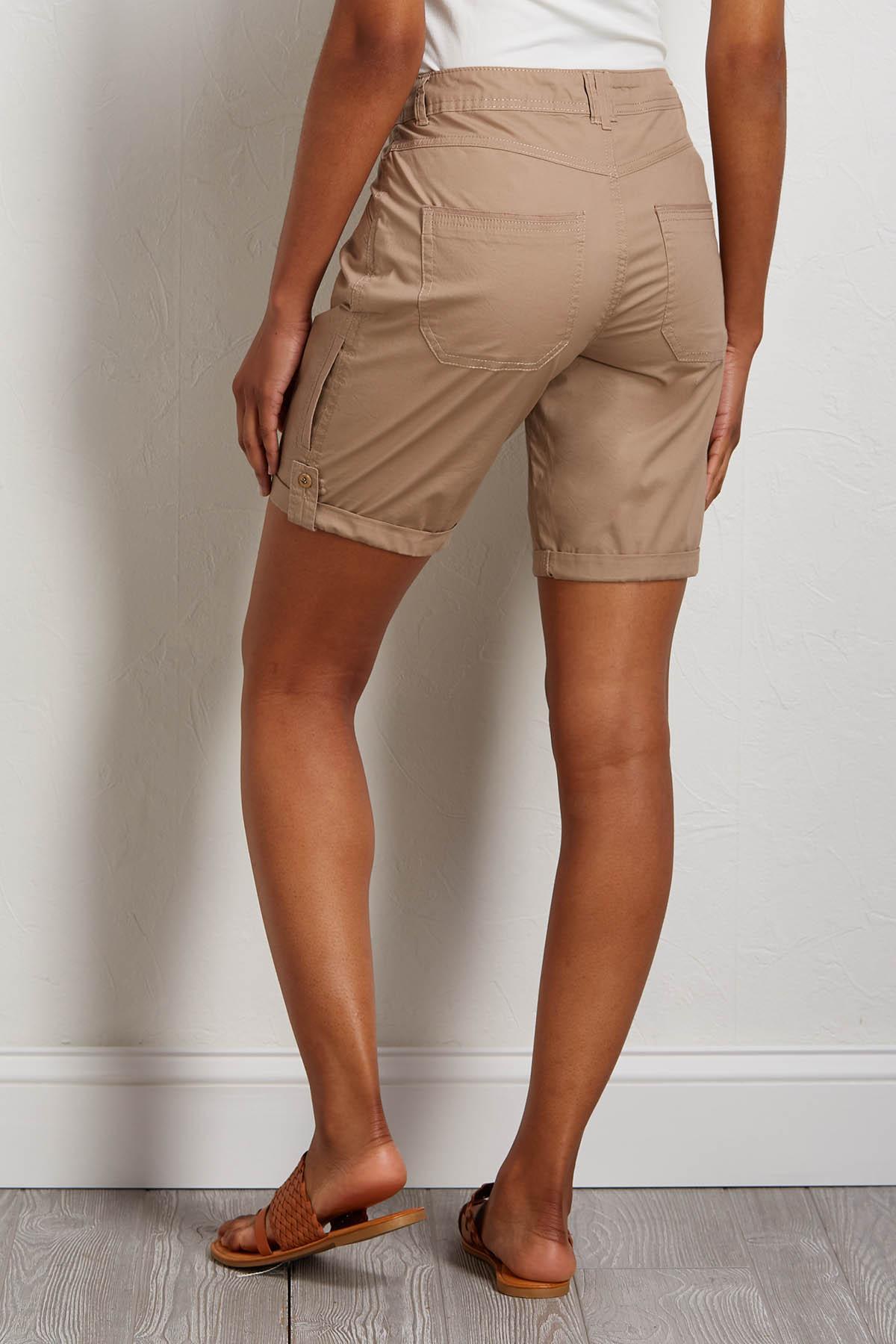 Khaki Poplin Bermuda Shorts