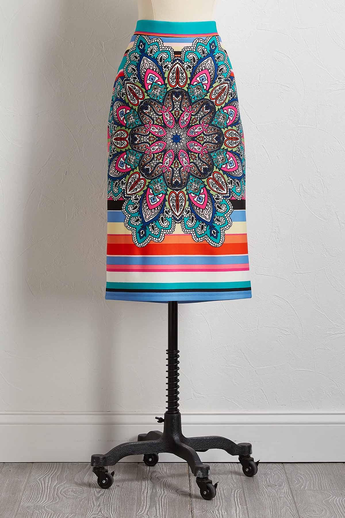 Bright Medallion Scuba Skirt