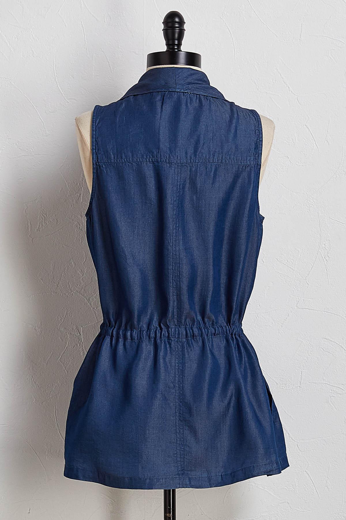 Chambray Cinch Waist Vest