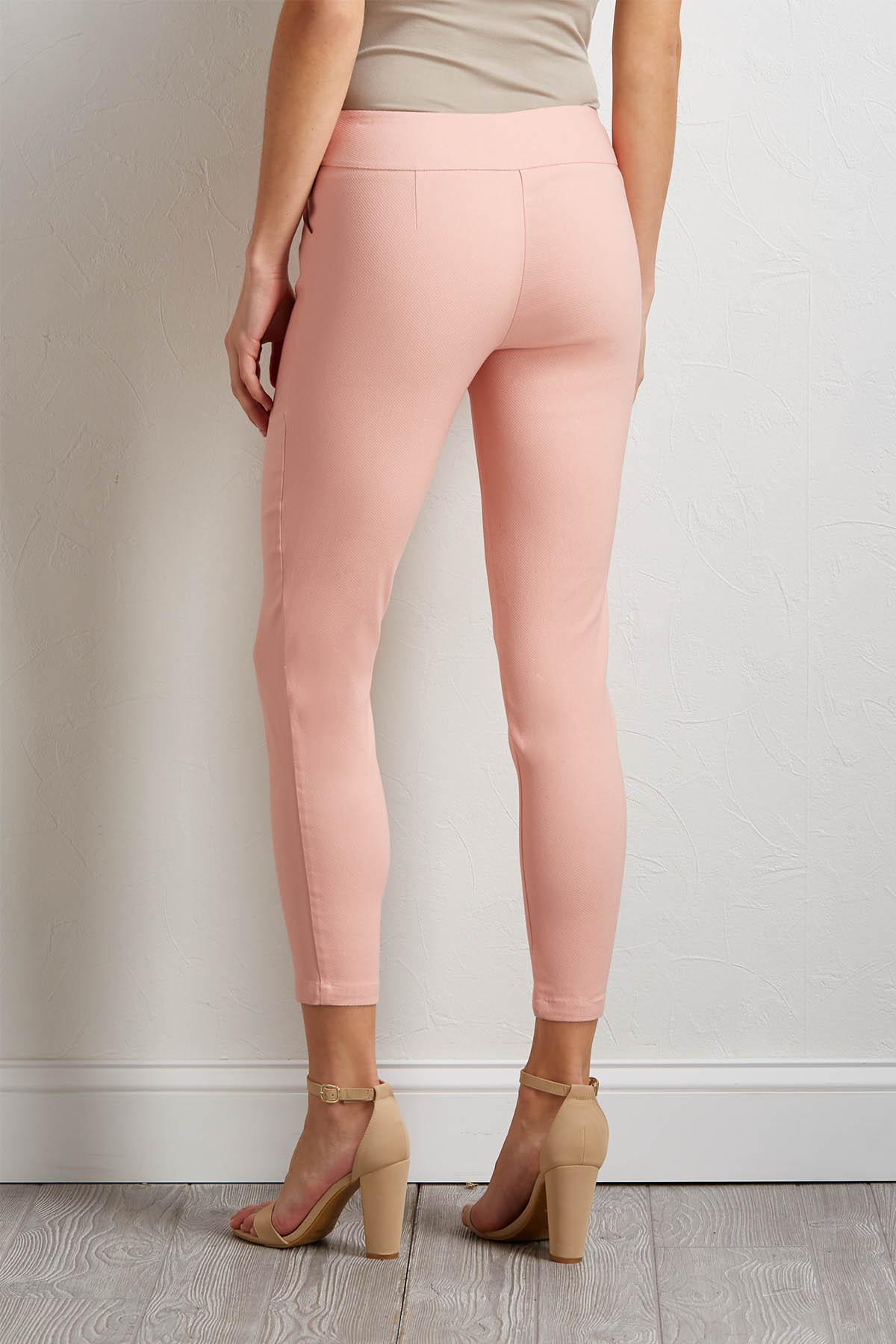 Pink Ribbed Pull- On Pants