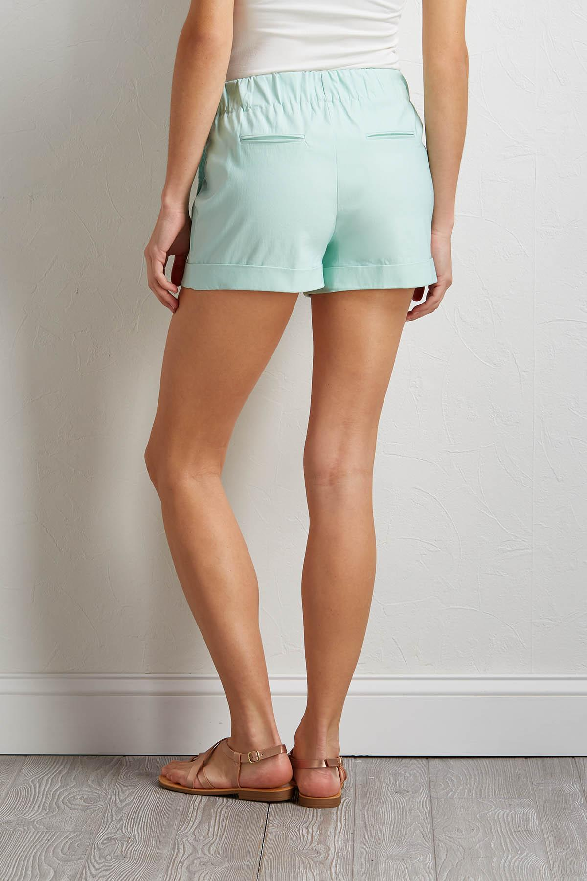 Cuffed Mint Shorts