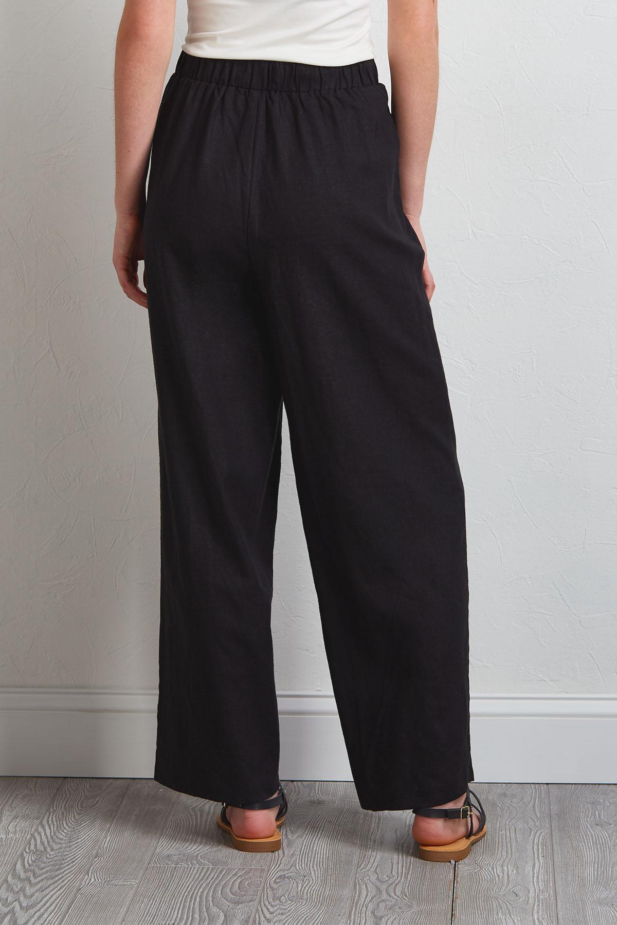 Black Button Linen Pants