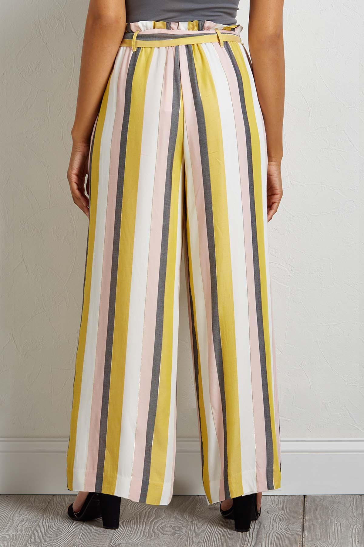 Striped Ruffle Tie Waist Pants