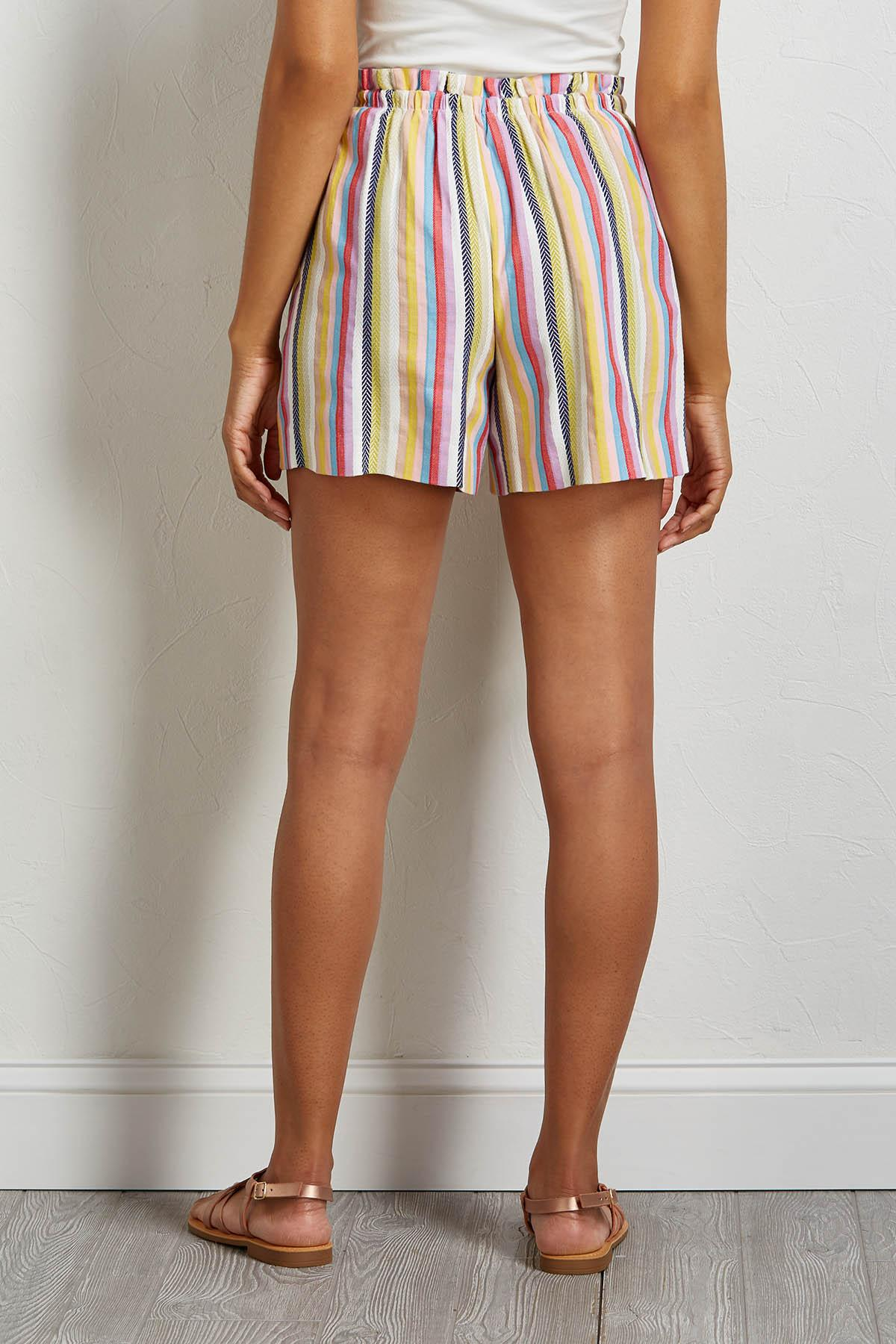 Rainbow Stripe Tie Waist Shorts