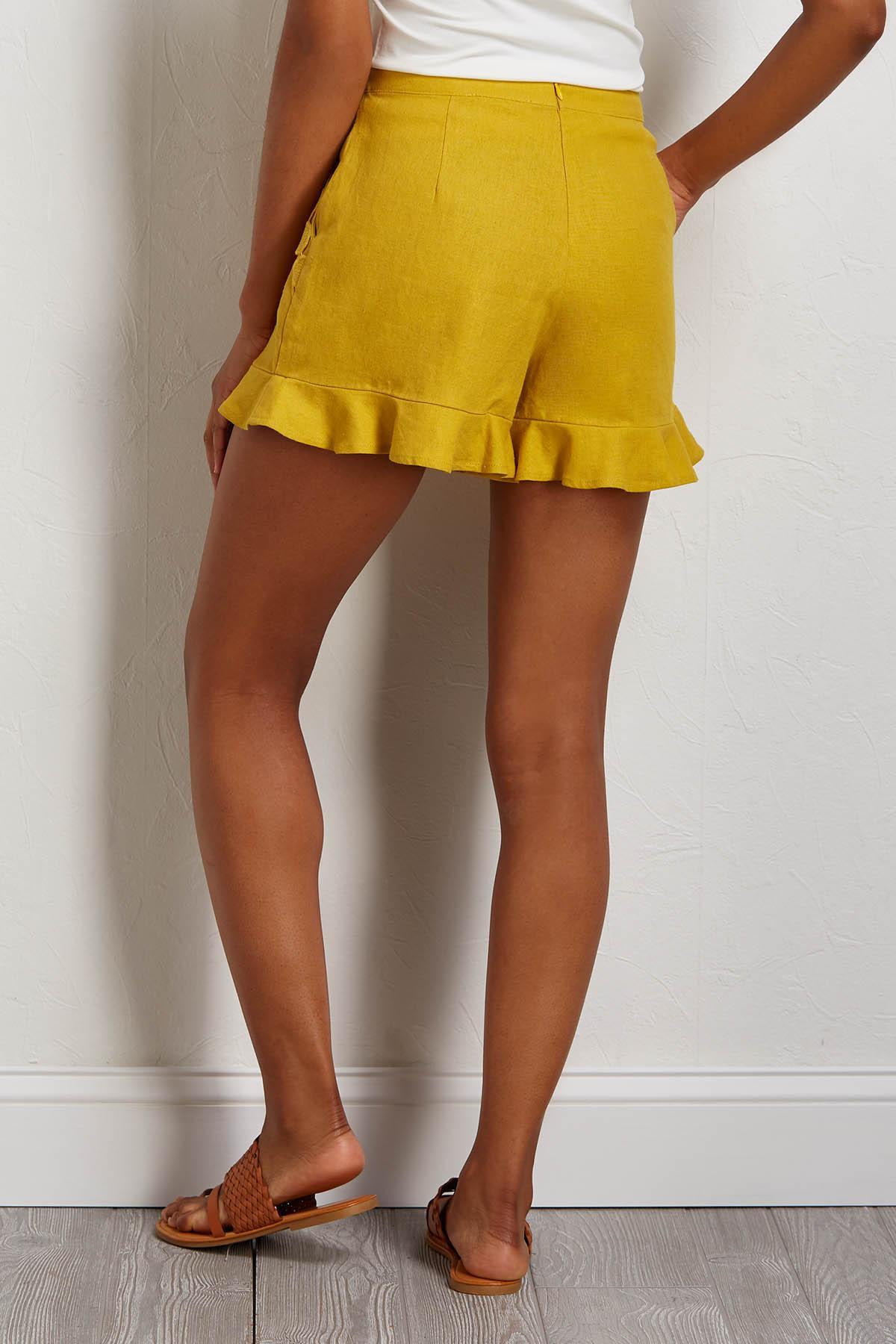 Gold Ruffled Shorts