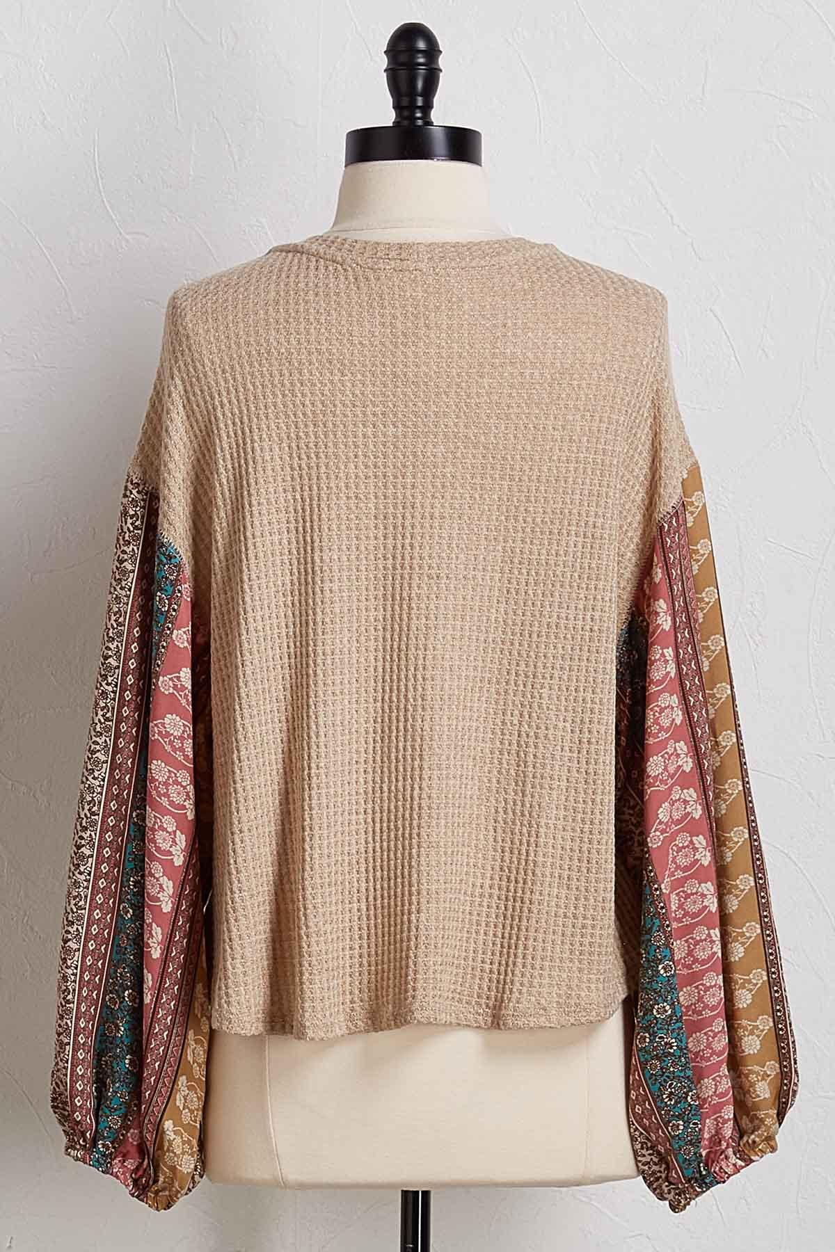Patchwork Sleeve Waffle Top