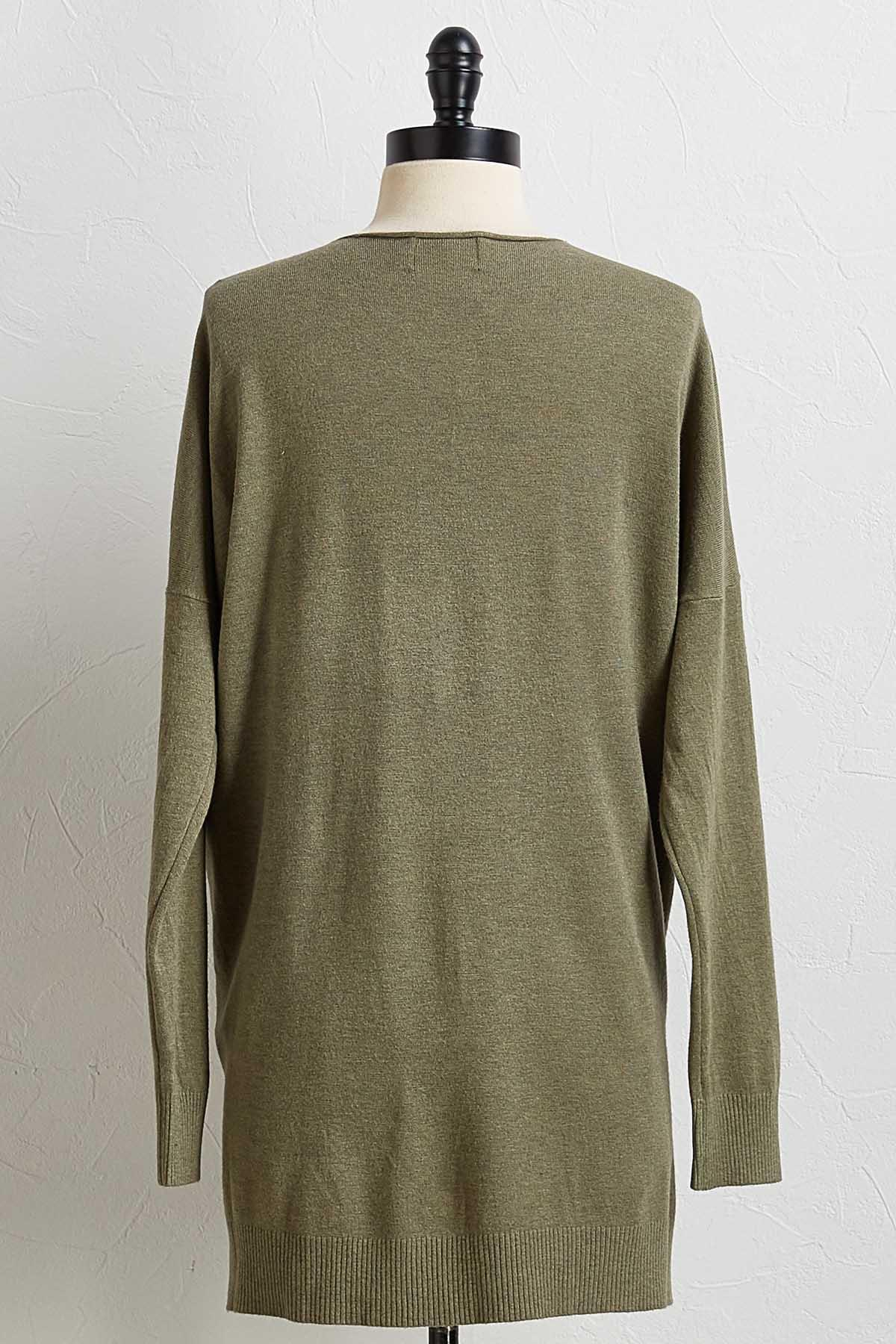 Olive Step Up Tunic Sweater