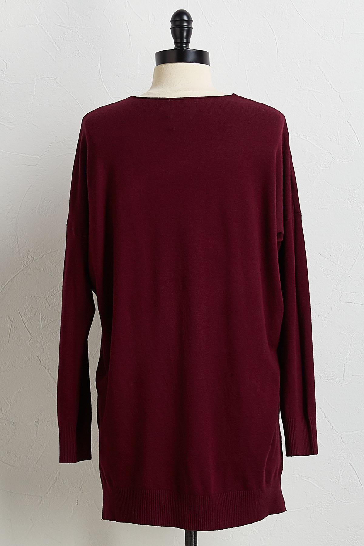 Solid Step Up Tunic Sweater