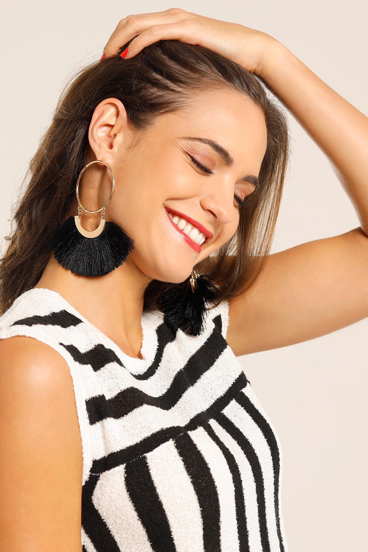 Large Tasseled Hoop Earrings