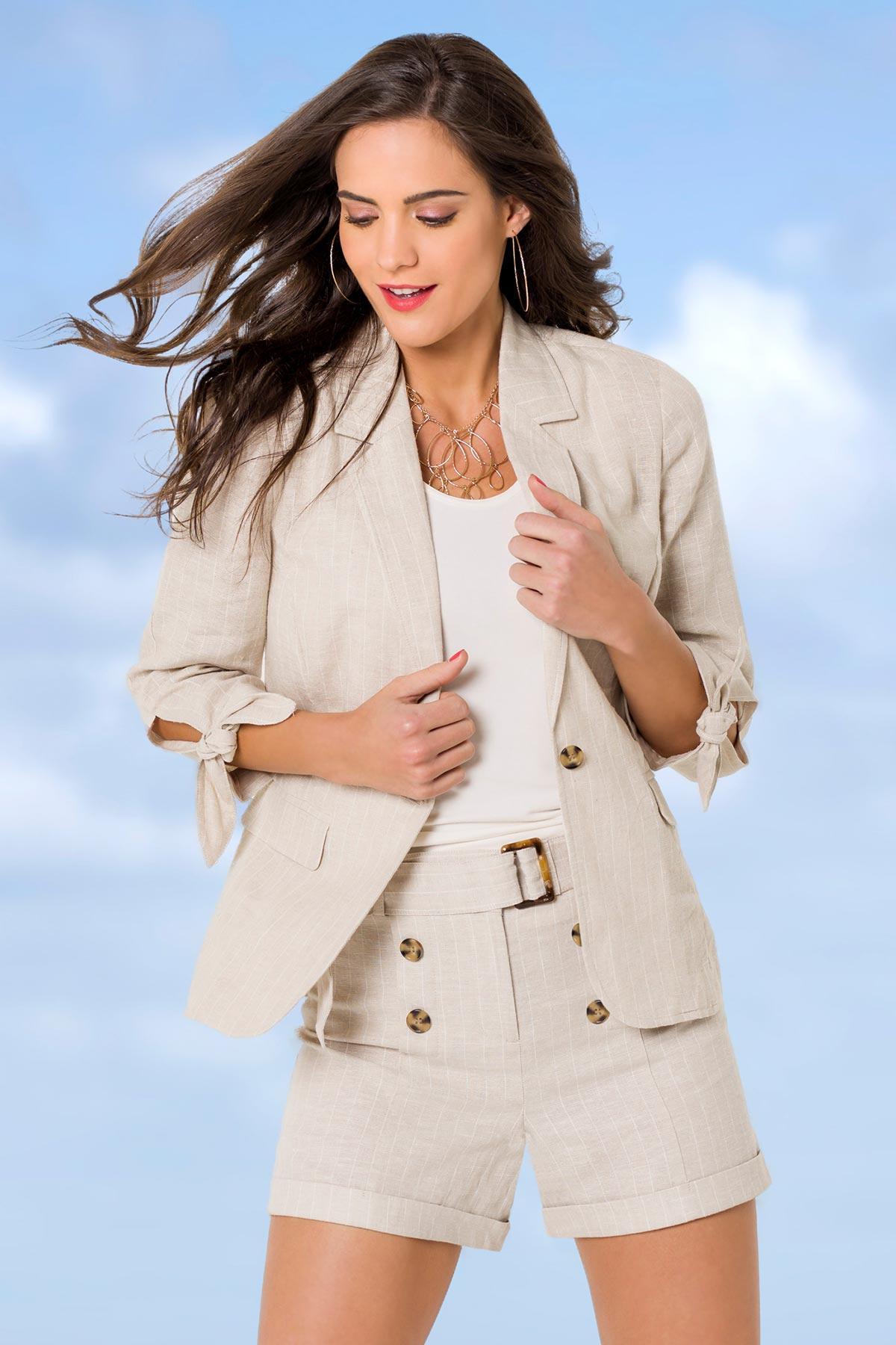 Belted Stripe Linen Shorts
