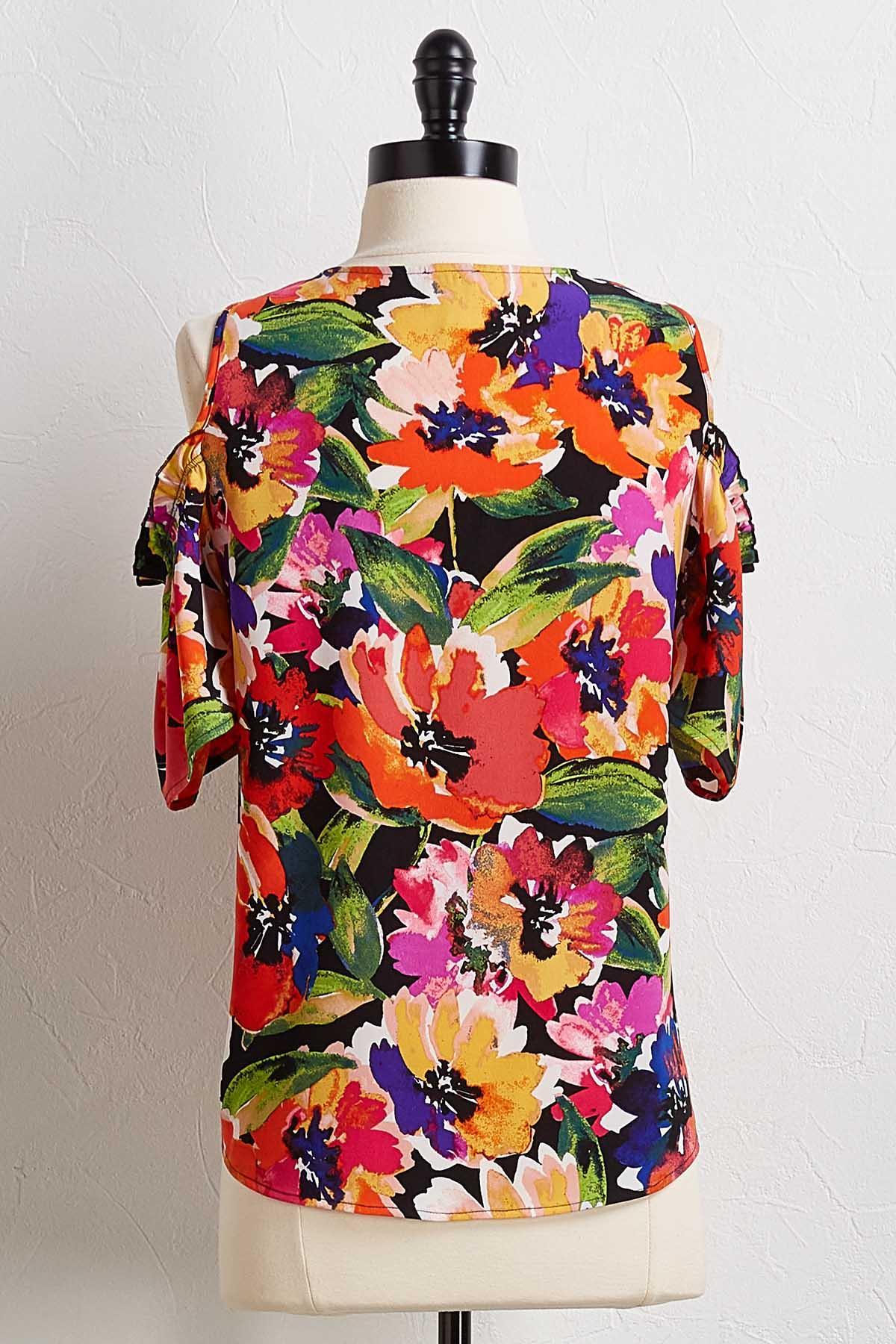 Bright Floral Bare Shoulder Top