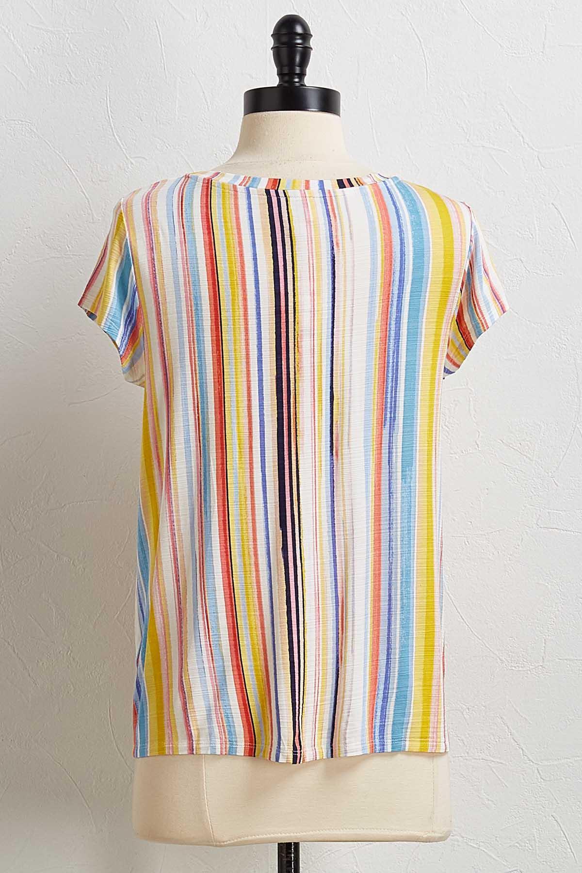 Painted Stripe Tie Hem Tee