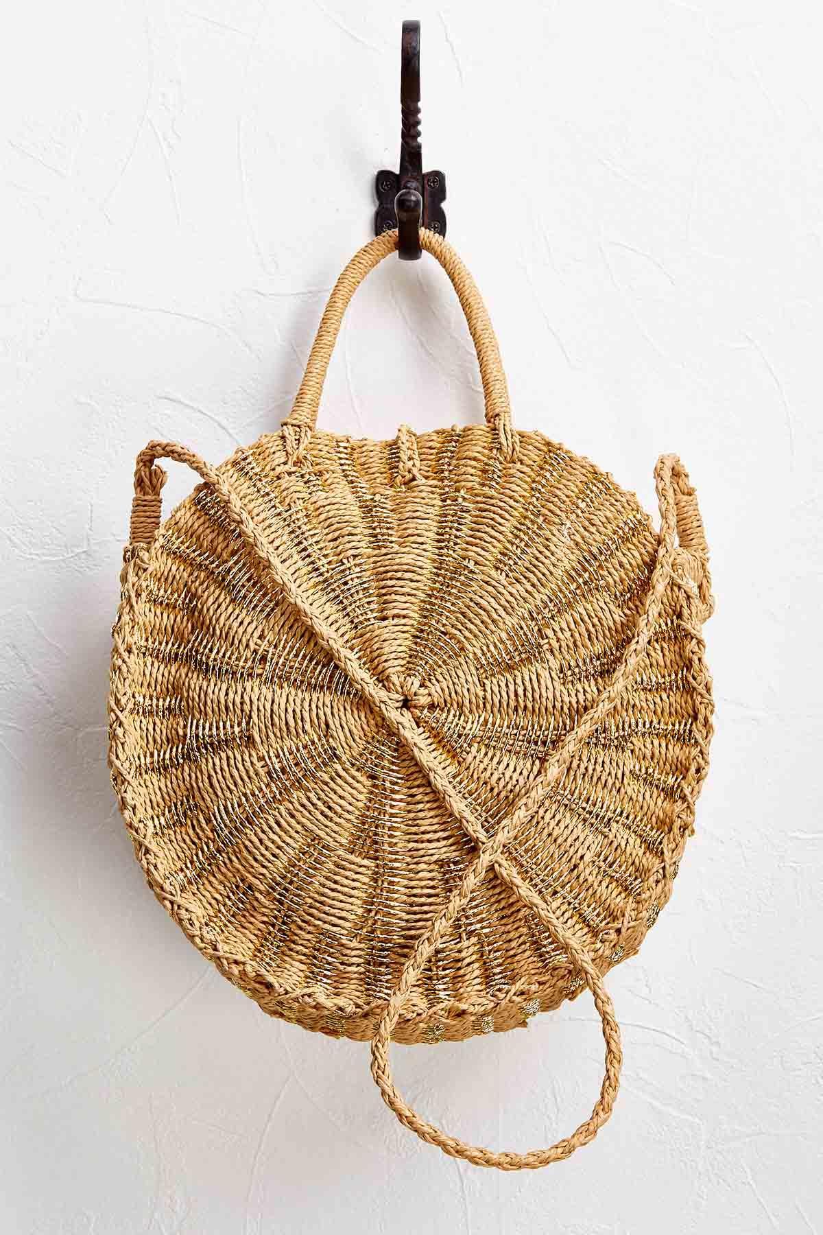 Metallic Straw Crossbody Bag