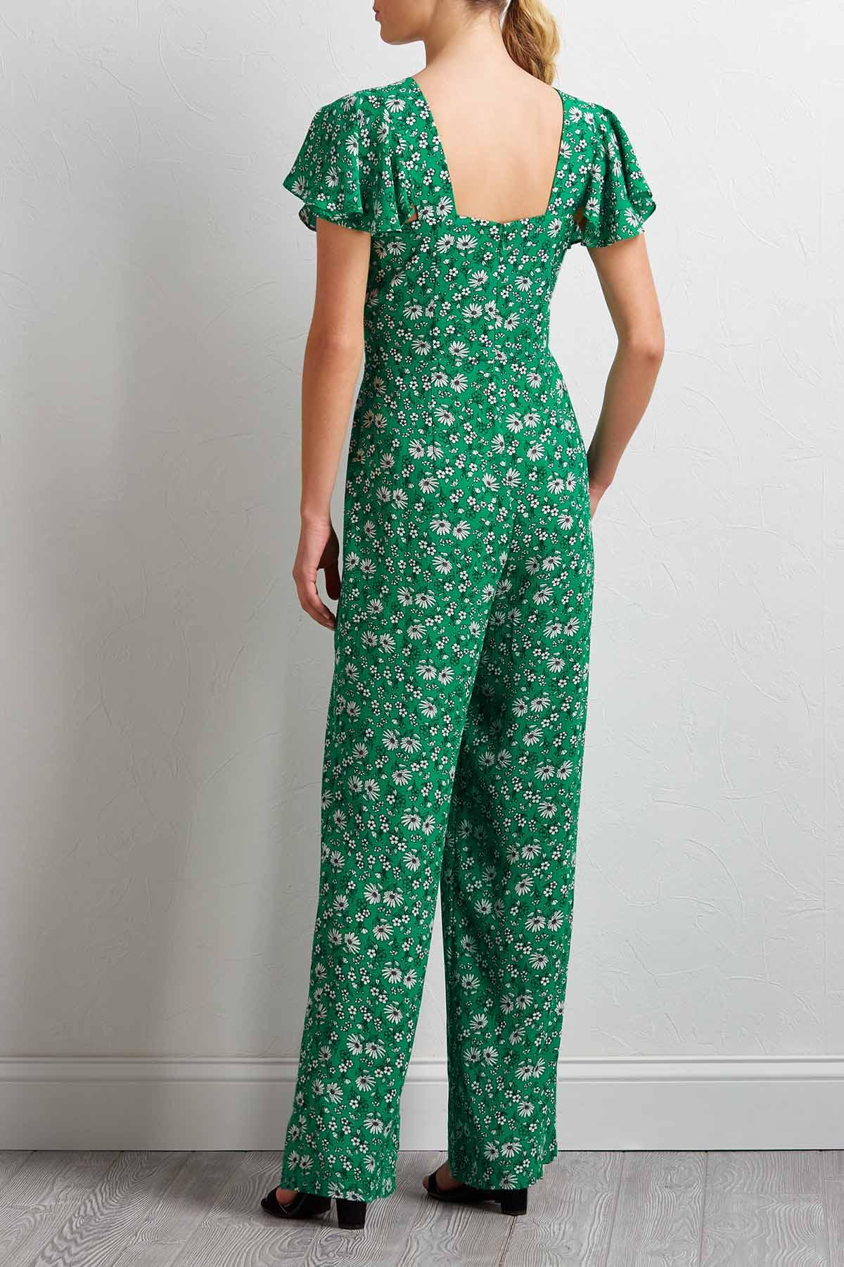 Green Floral Jumpsuit