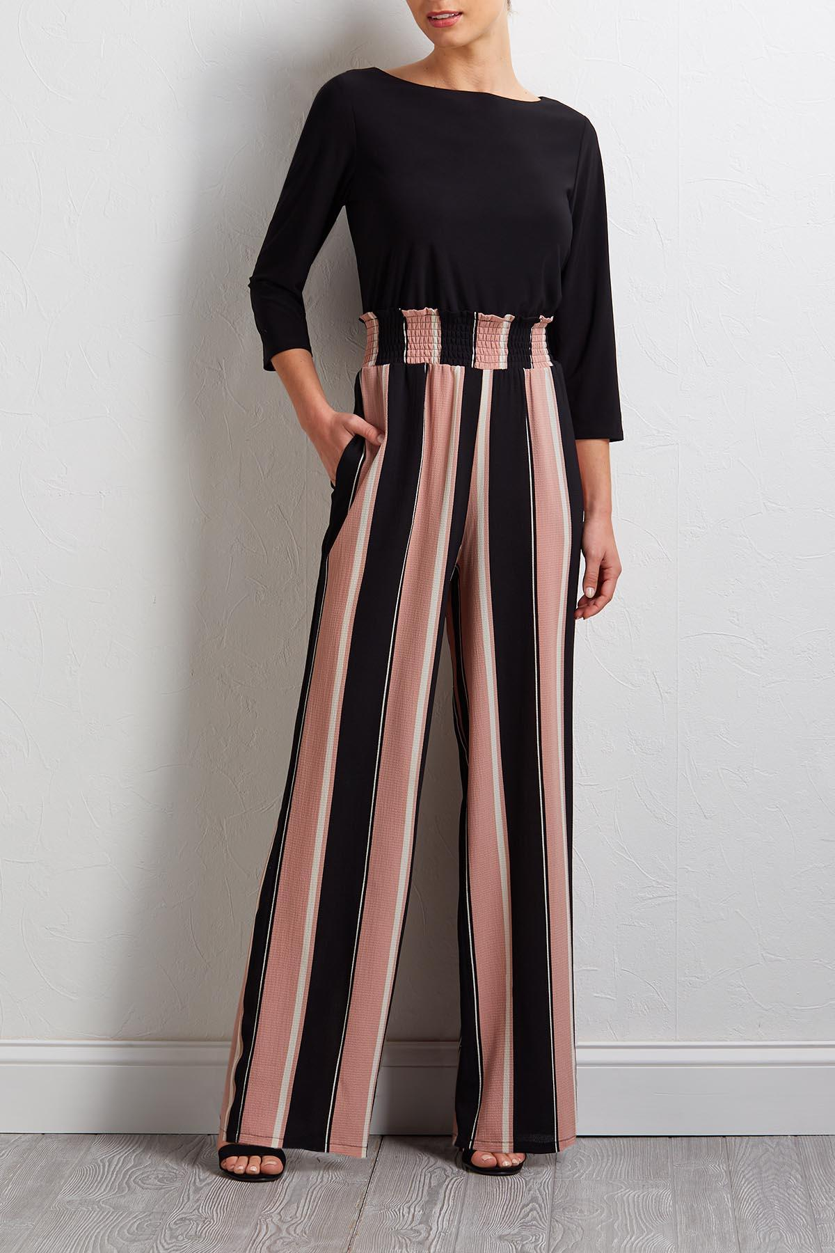 Blush Stripe And Solid Jumpsuit