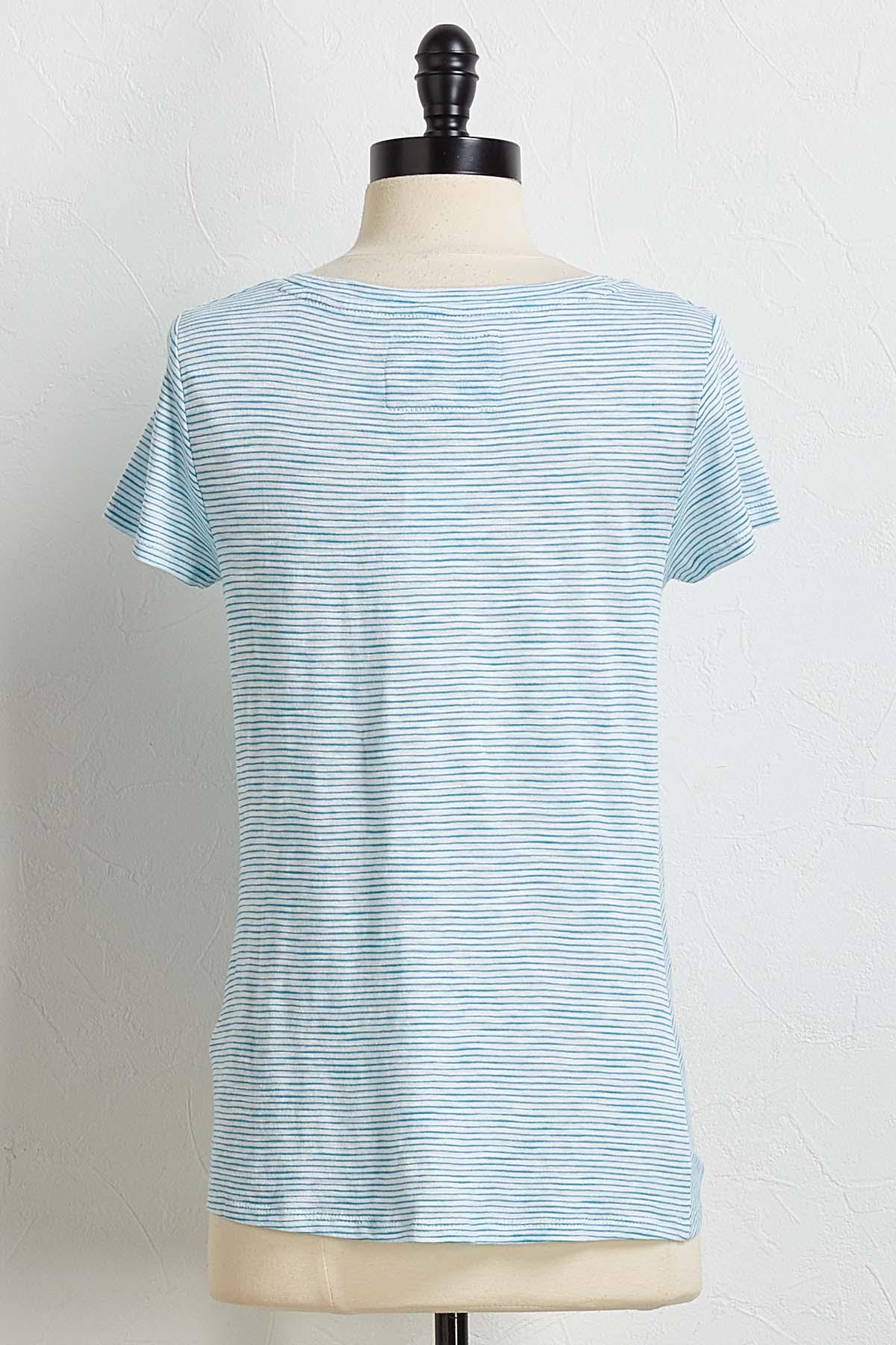 Turquoise Stripe Twisted Tee